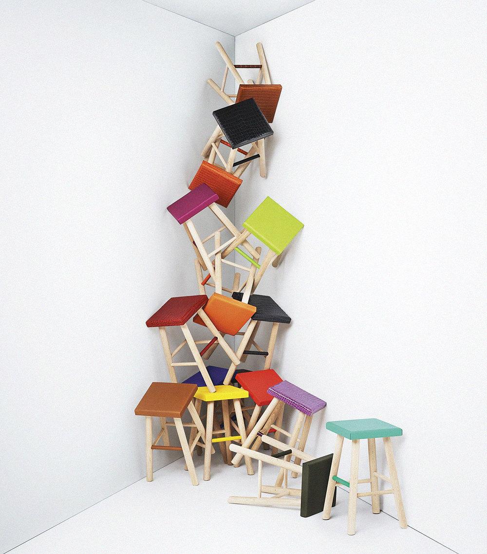 Инсталляция изстульев, созданных врамках программы Hermès Petit H