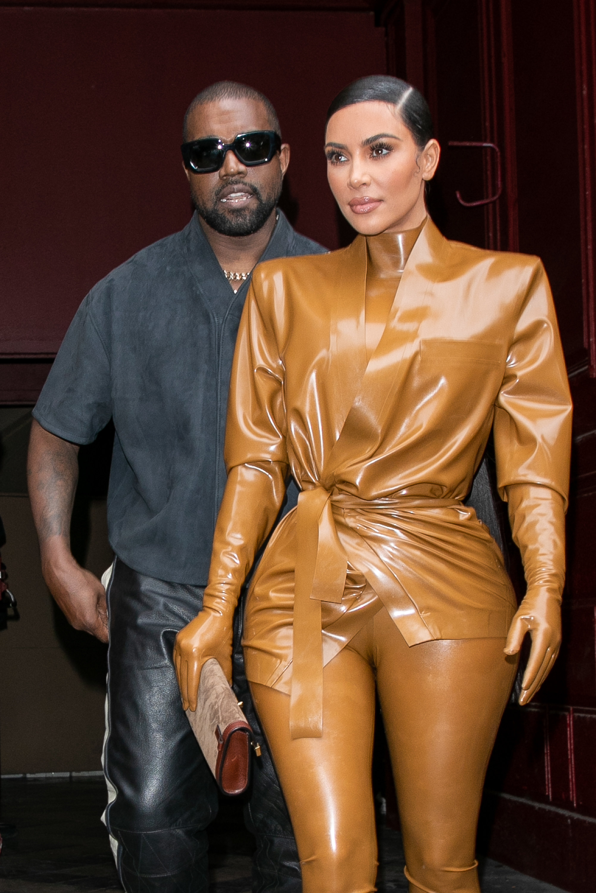 PARIS, FRANCE - MARCH 01: Kim Kardashian West and husband Kanye West leave K.West's Sunday Service At Theatre Des Bouffes Du Nord - Paris Fashion Week Womenswear Fall/Winter 2020/2021 on March 01, 2020 in Paris, France. (Photo by Marc Piasecki/WireImage/Getty Images