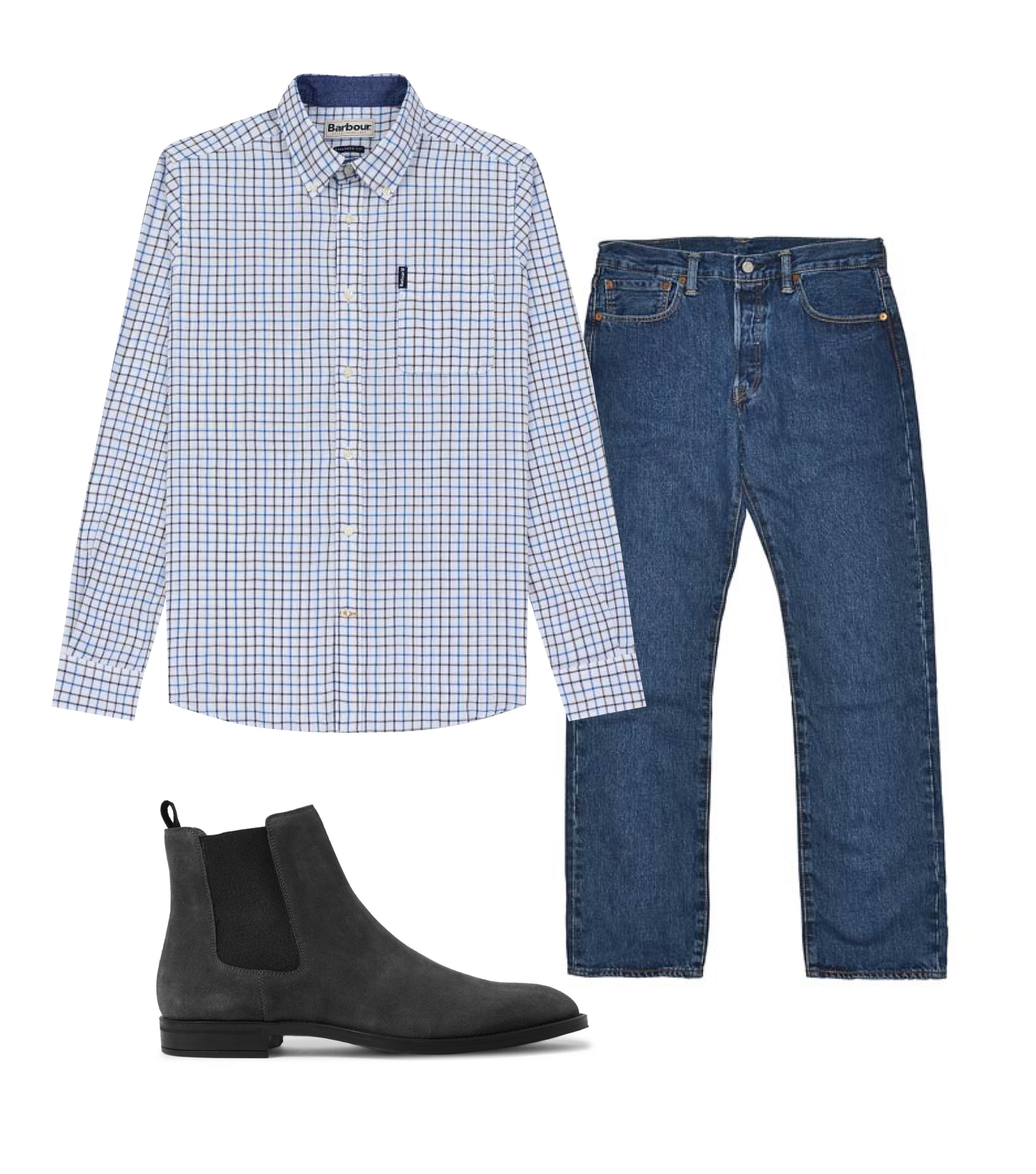 Джинсы Levi's, 7500 рублей; рубашка Barbour, 7290 рублей; обувь Hugo Boss, €302