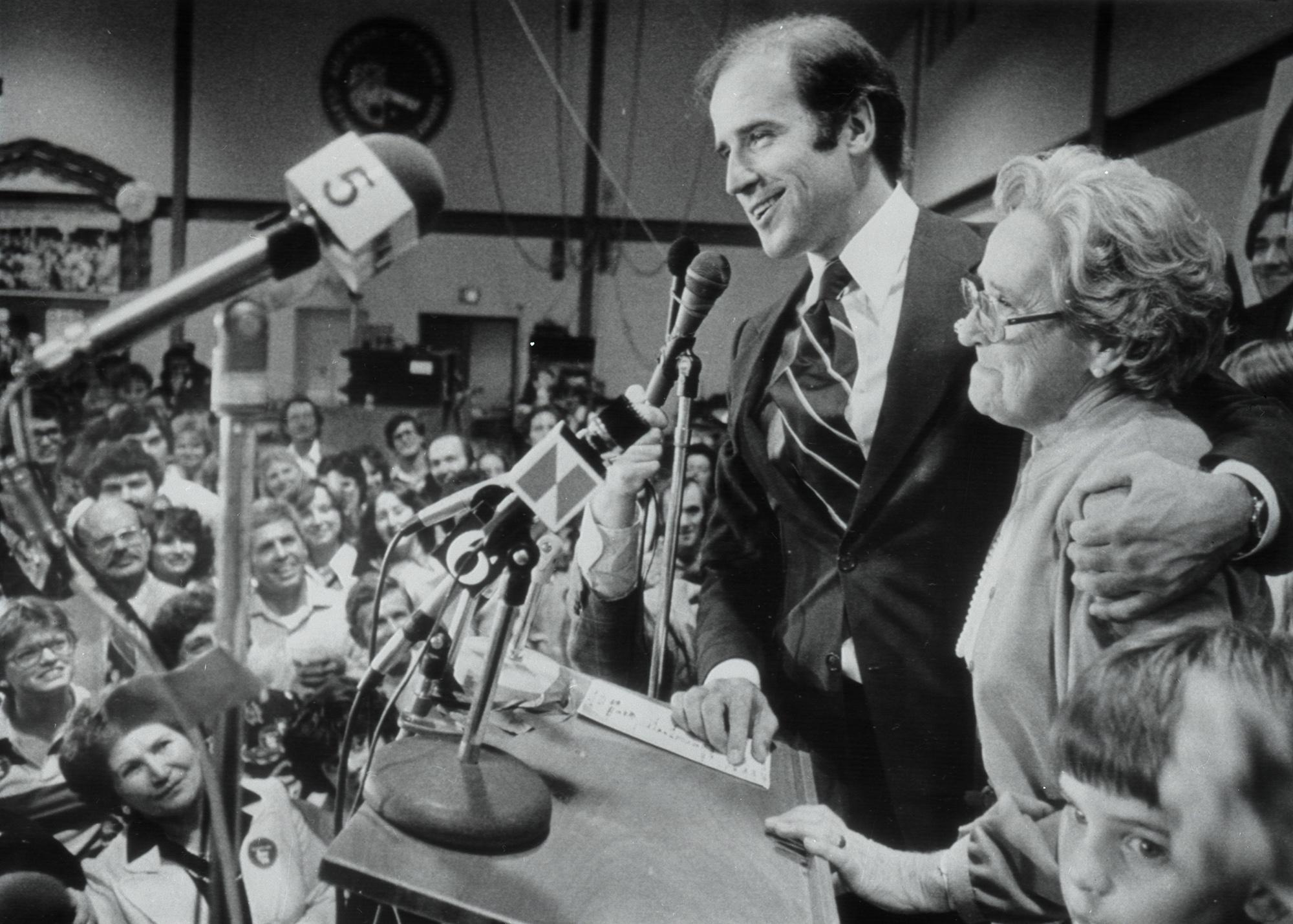Senator Joseph Biden Jr.Sen. Joseph Biden Jr., with his mother, Jean, was re-elected and addressing followers. 1978