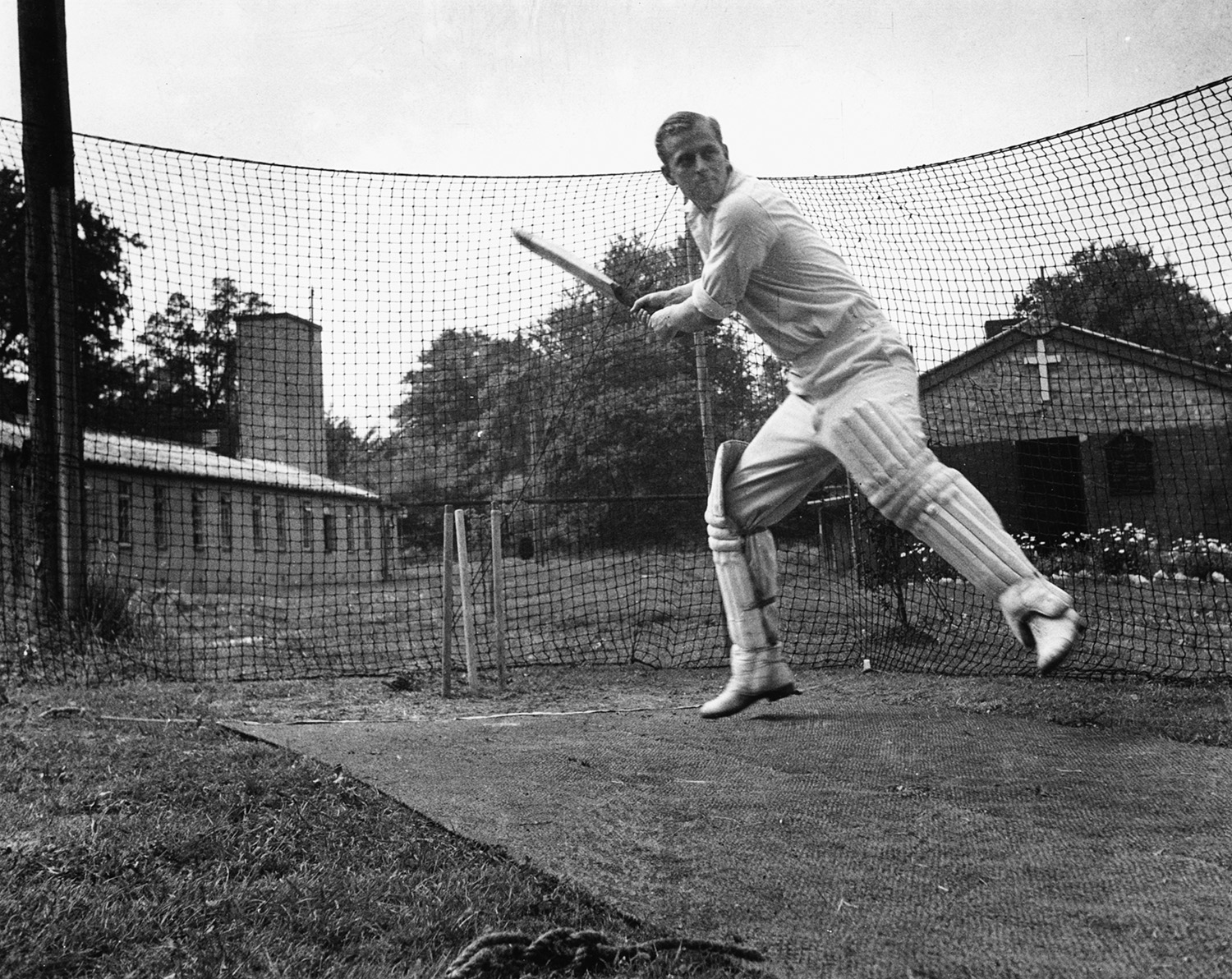 Philip Mountbatten, prior to his marriage to Princess Elizabeth, batting at the nets during cricket practice while in the Royal Navy, July 31st 1947.