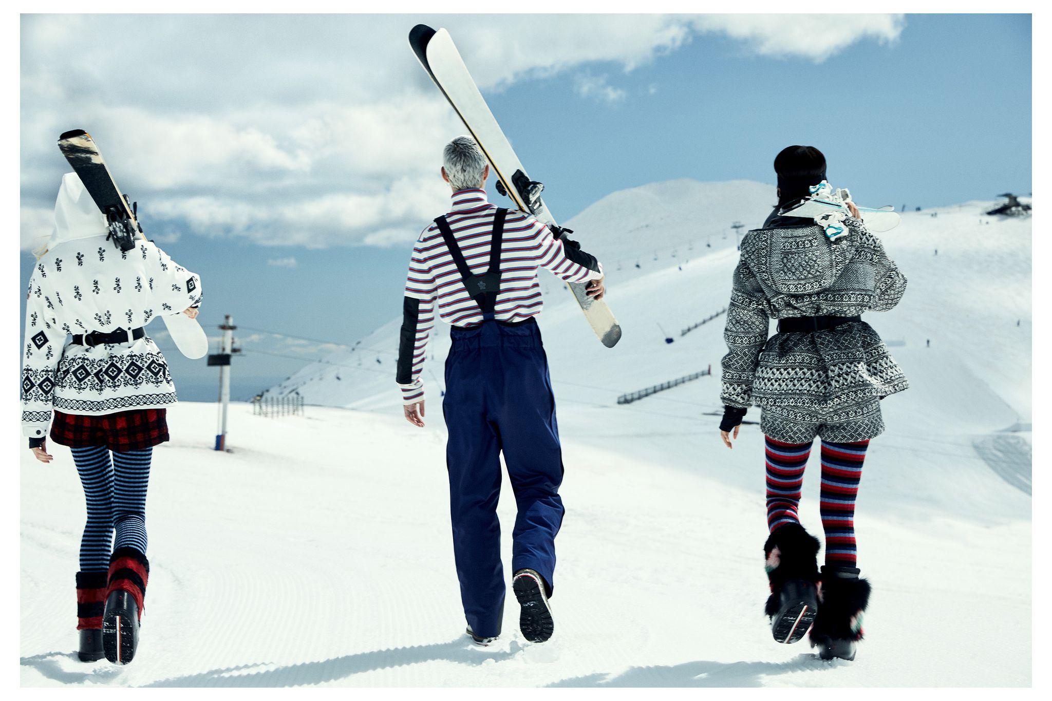 На мужчине: куртка Telluride, комбинезон, болтинки, все Moncler Grenoble