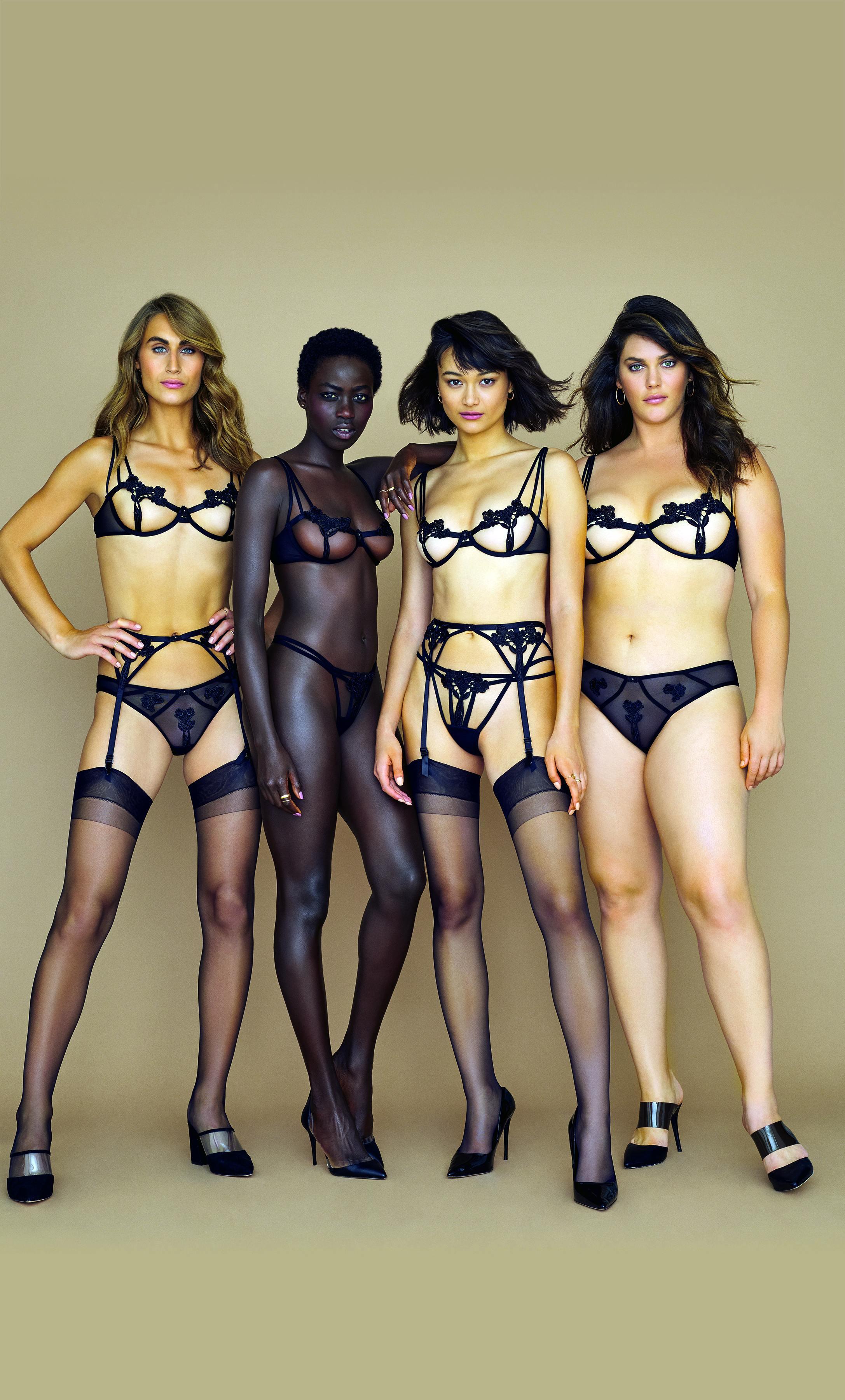 Май Симон Лифшиц (крайняя слева) иАли Тейт Катлер (крайняя справа) вкампании Victoria's Secret иBluebella