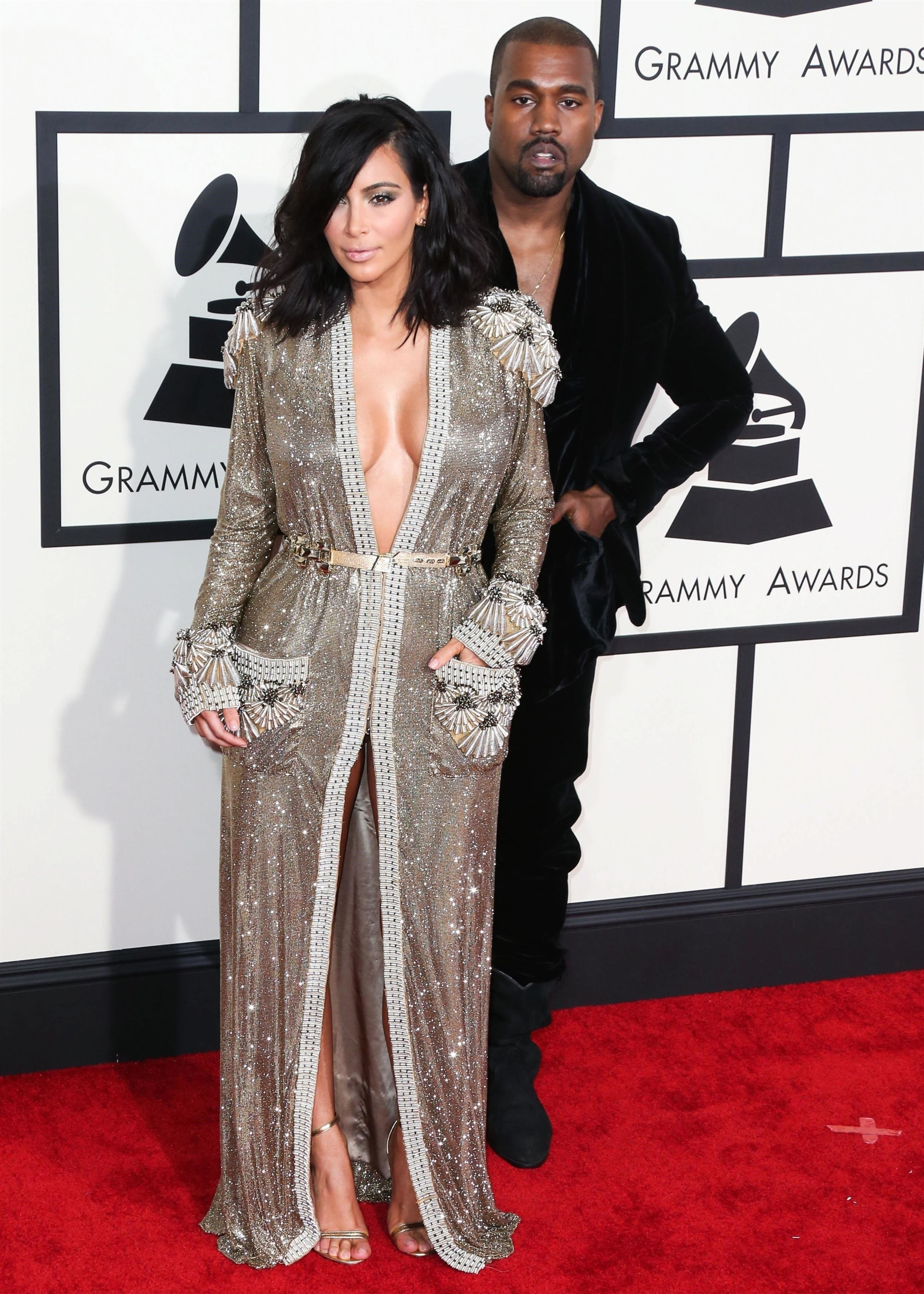 Kim Kardashian West And Husband Kanye West Arrive At The 57th Annual GRAMMY Awards Held At Staples Center On February 8, 2015 In Los Angeles, California. **FILE PHOTOS** **SHOT ON 02/08/2015** КРЕДИТ Backgrid USA/Legion Media