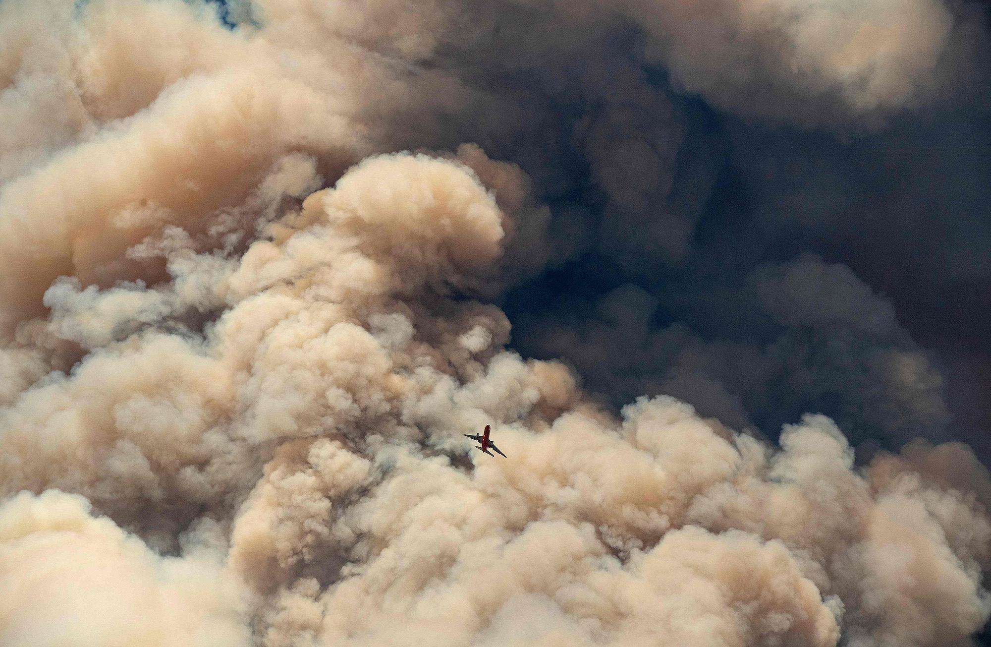 Пожарный самолет, борющийся спожарами вКалифорнии.