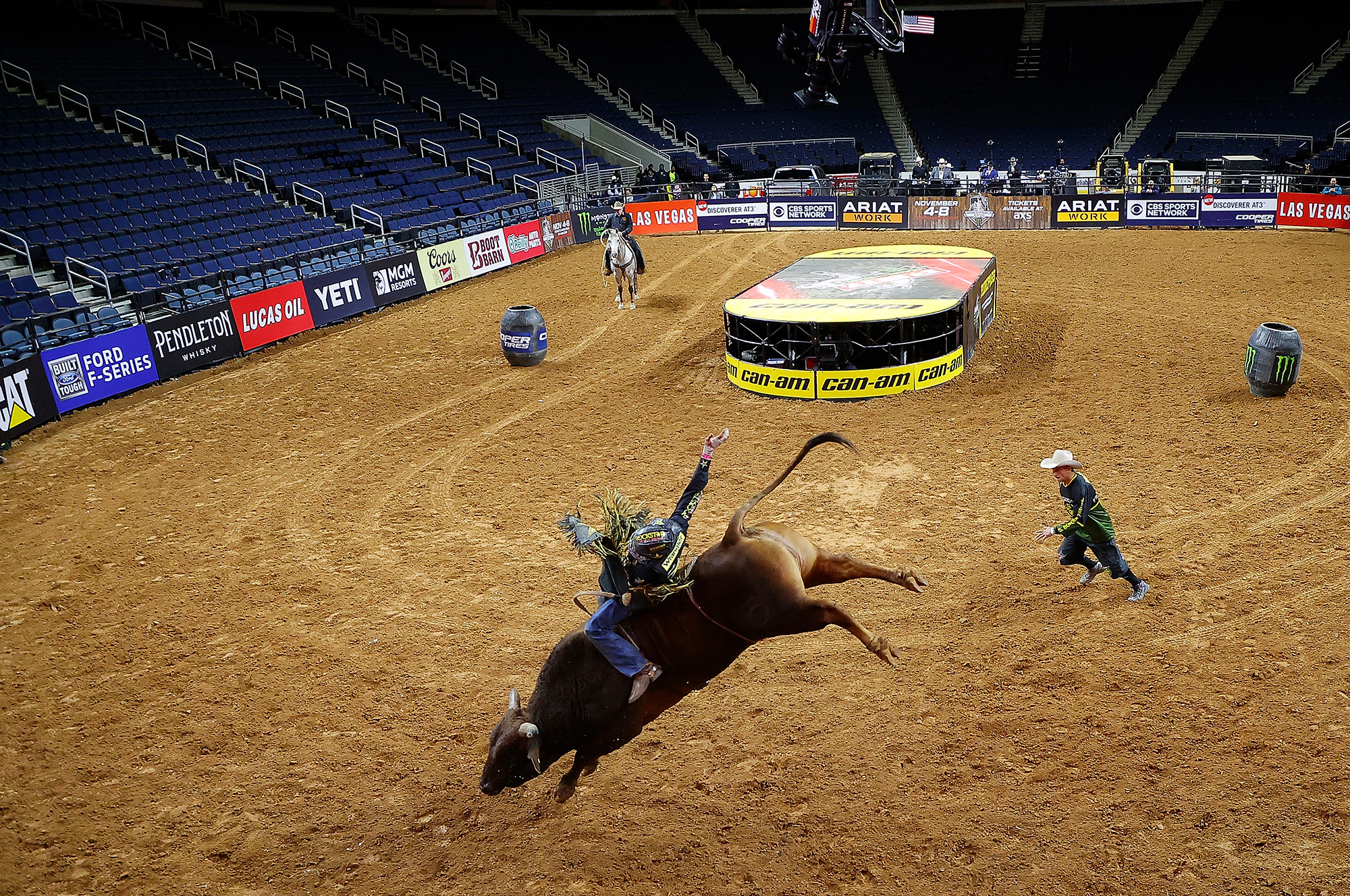 PBR Unleash The Beast - Gwinnett InvitationalDULUTH, GEORGIA - MARCH 15: Dener Barbosa of Brazil rides Bullseye during round 3 on the second day of competition to win the PBR Unleash The Beast Gwinnett Invitational at Infinite Energy Center on March 15, 2020 in Duluth, Georgia.The competition is being held behind closed doors to the general public due to the worldwide spread of COVID-19. (Photo by Kevin C. Cox/Getty Images)