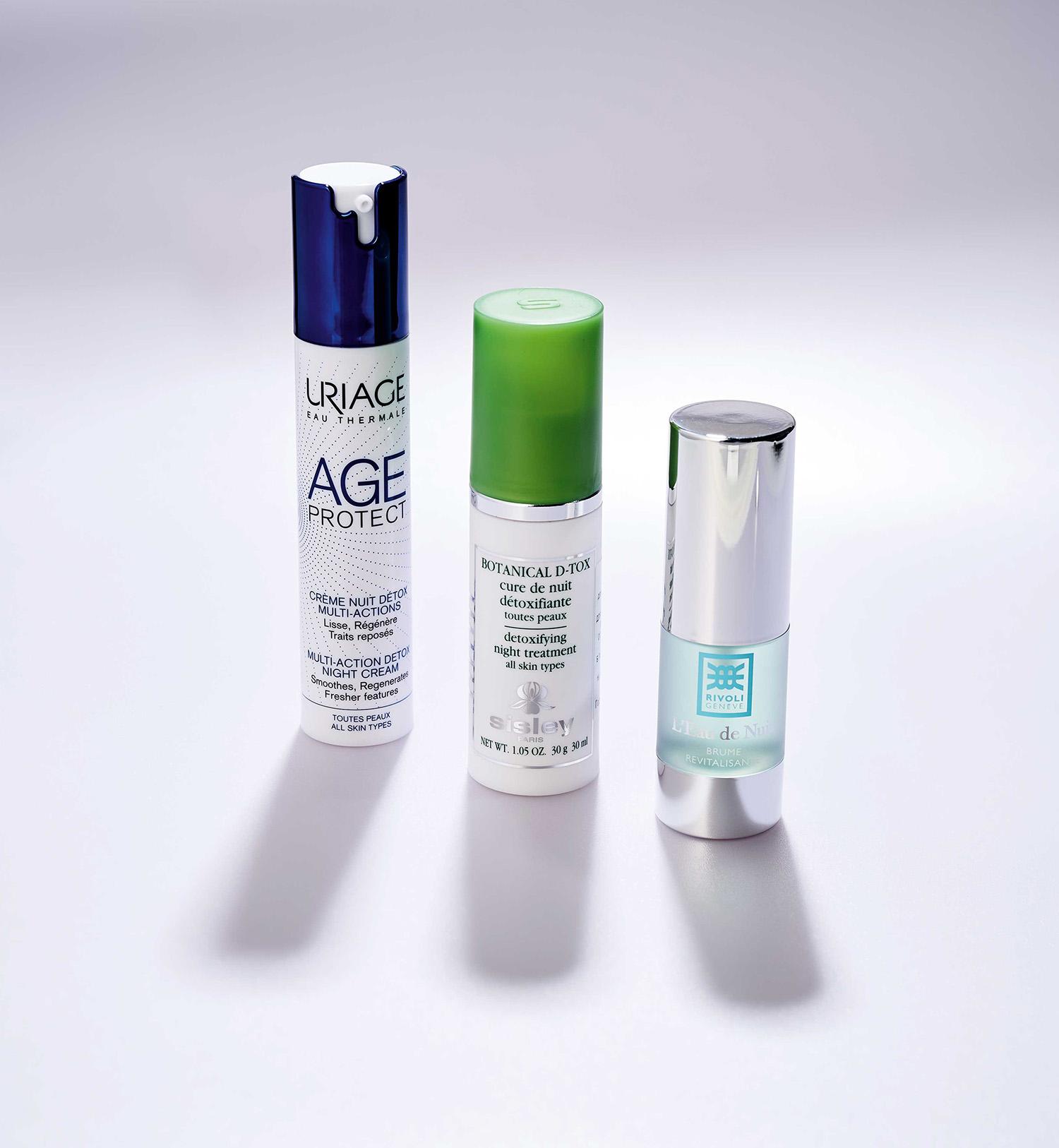 Ночной детокс-крем длялица Age Protect Creme Nuit Detox, Uriage  Ночная детокс-сыворотка длявсех типов кожи, Detoxifying Night Treatment, Sisley Ночной эликсир-спрей длявосстановления клеточного дыхания Elixir de Nuit, Rivoli