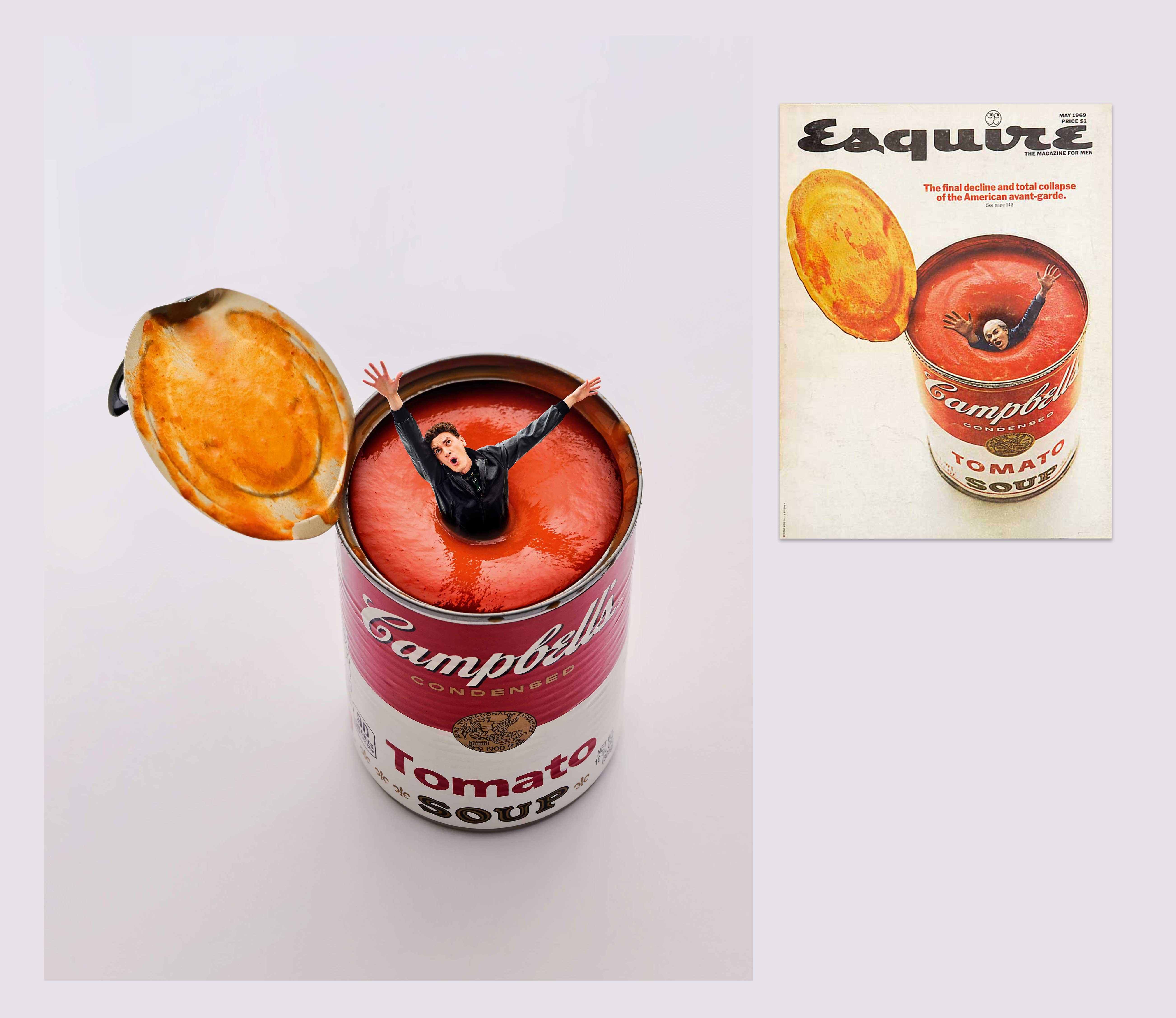 1969 год Энди Уорхол тонет вбанке ссупом Campbell наобложке майского номера, посвященного американскому авангарду.