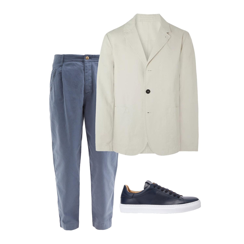 Пиджак Mr P., $325; брюки Folk, €115; кеды Principe Di Bologna, 16 390 руб.