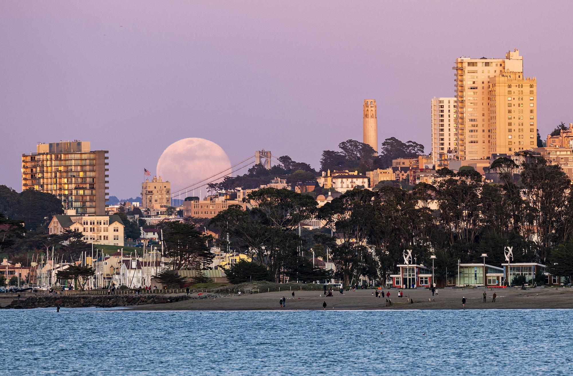 Розовая Луна поднимается надгоризонтом, пока люди наслаждаются свежим воздухом напляже. Приэтом повсей стране объявлен карантин покоронавирусу ирежим самоизоляции. Сан-Франциско, штат Калифорния, США.