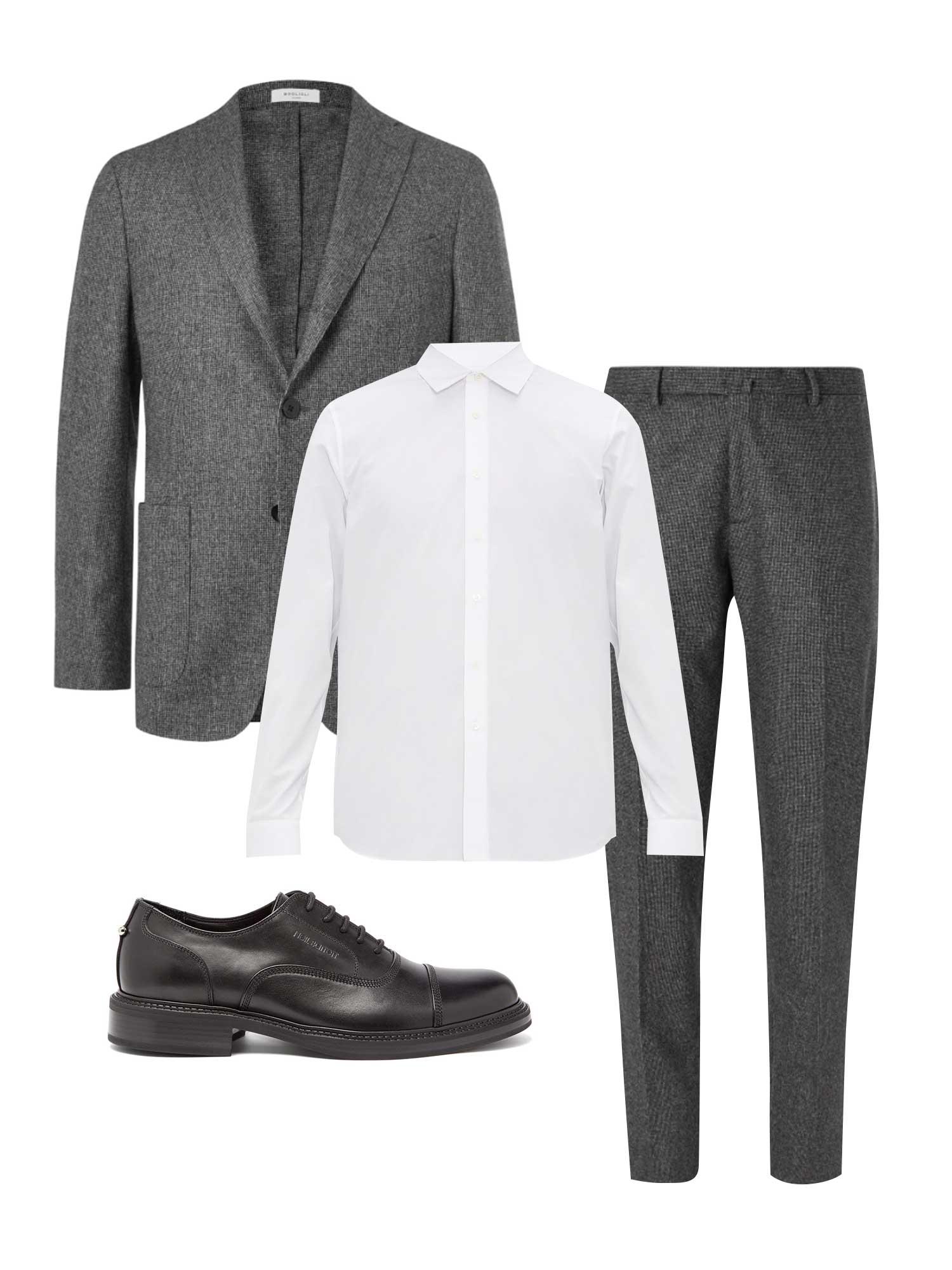 Пиджак Boglioli, €714; брюки Boglioli, €279; рубашка Jil Sander, €249; обувь Neil Barrett, €401