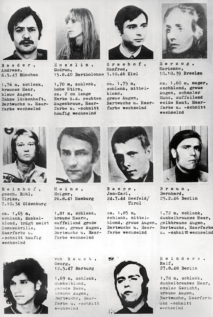 Жители Западной Германии быстро научились узнавать террористов изRote Armee Fraktion поименам. Запоимку каждого правительство ФРГ обещало награду
