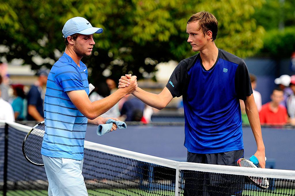 Даниил Медведев иЛюк Бэмбридж накорте US Open в2013 году
