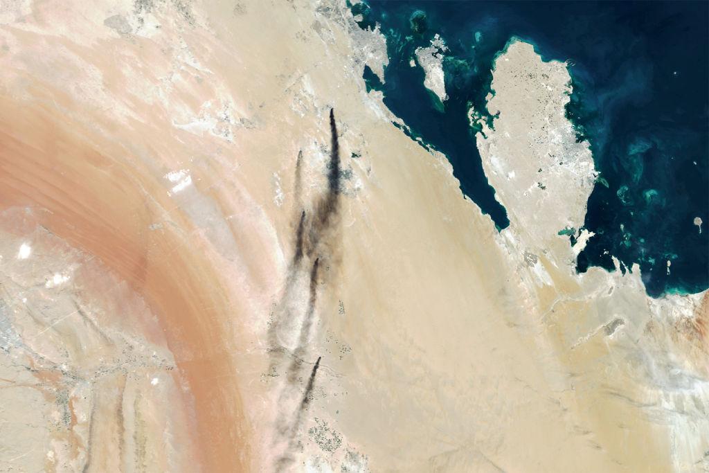 Снимок со спутника предполагаемого места атаки беспилотников близ Абкайка