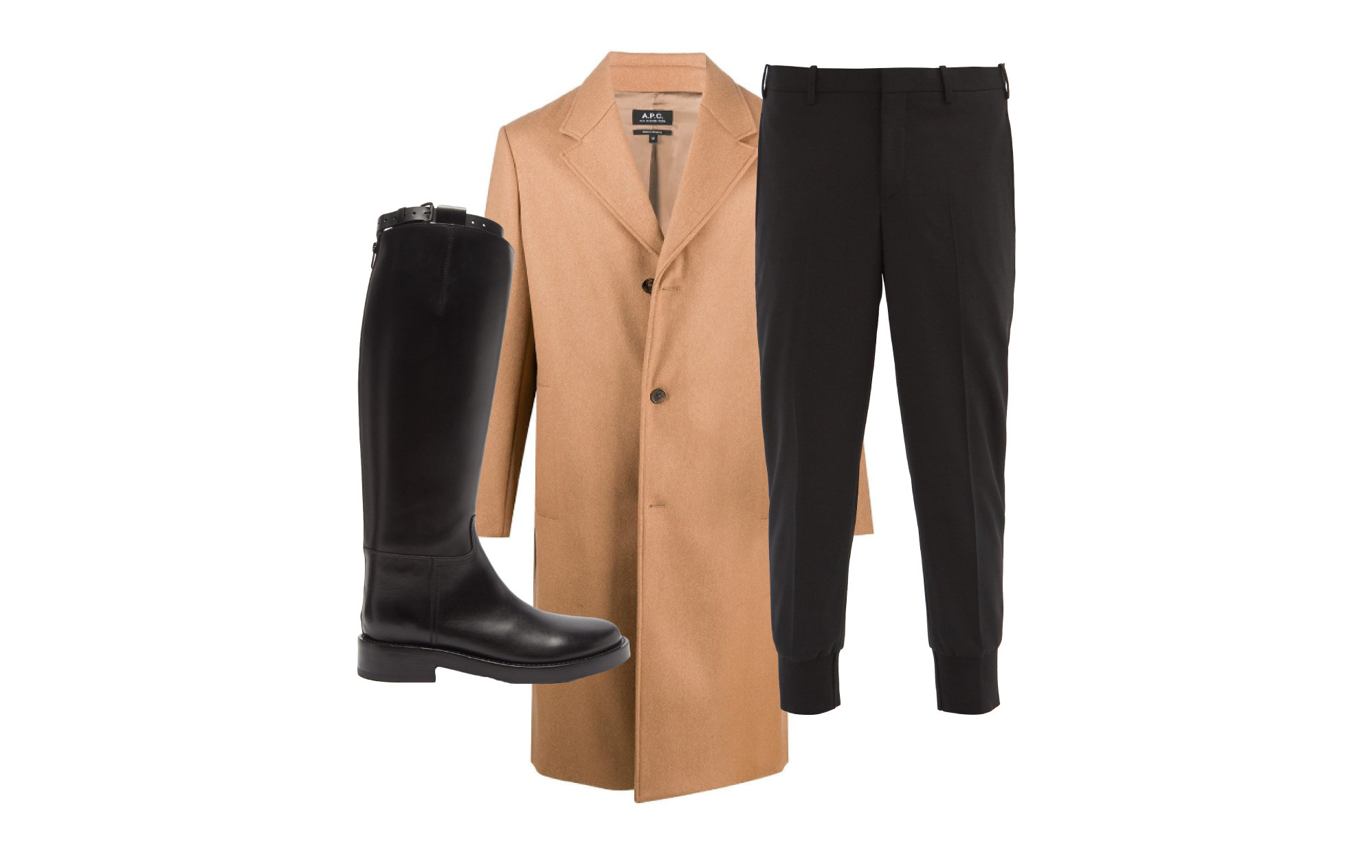 Пальто A.P.C., 38 453 руб. ; брюки Neil Barrett, €296; сапоги Ann Demeuleester, €961