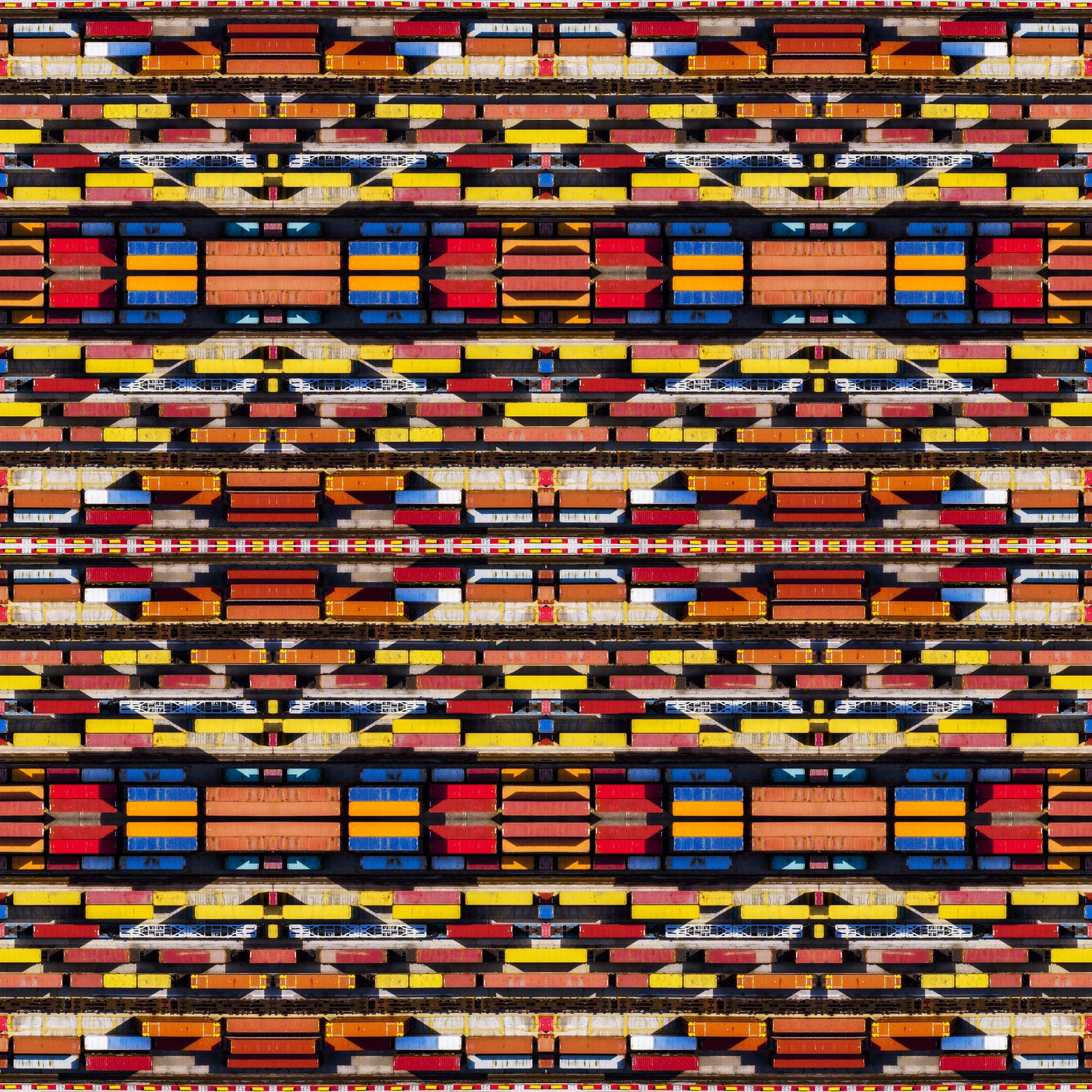 Caleidoscopio | Abstract Runner UpThis shot was inspired by the colourful patterns of the Navajo people of the south-western US. The colours of the containers and the diagonals created by the play of light and shadow create an interesting patternPhotograph: Paolo Crocetta/Drone Photography Awards 2021