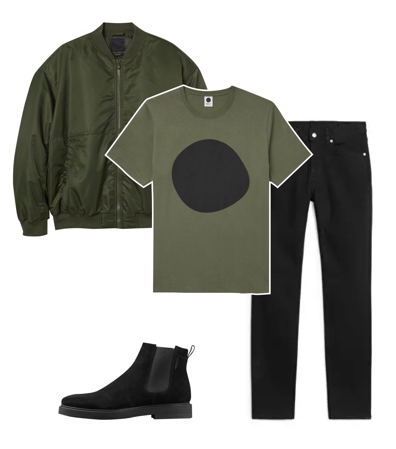 Бомбер H&M, 7499 рублей; футболка NN07, €47; джинсы Arket, $79; челси Vagabond, 10500 рублей