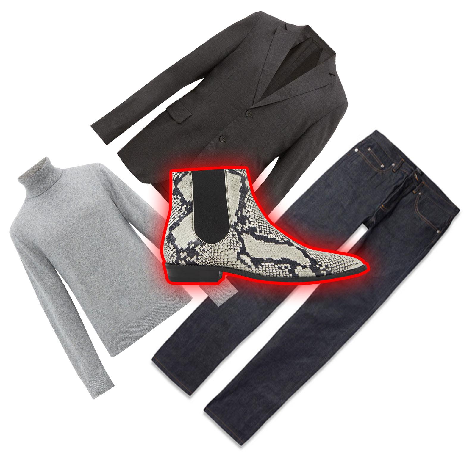 Блейзер Acne Studios, €530; водолазка Joseph, €255; джинсы A.P.C., £144; обувь Zara, 8999 рублей