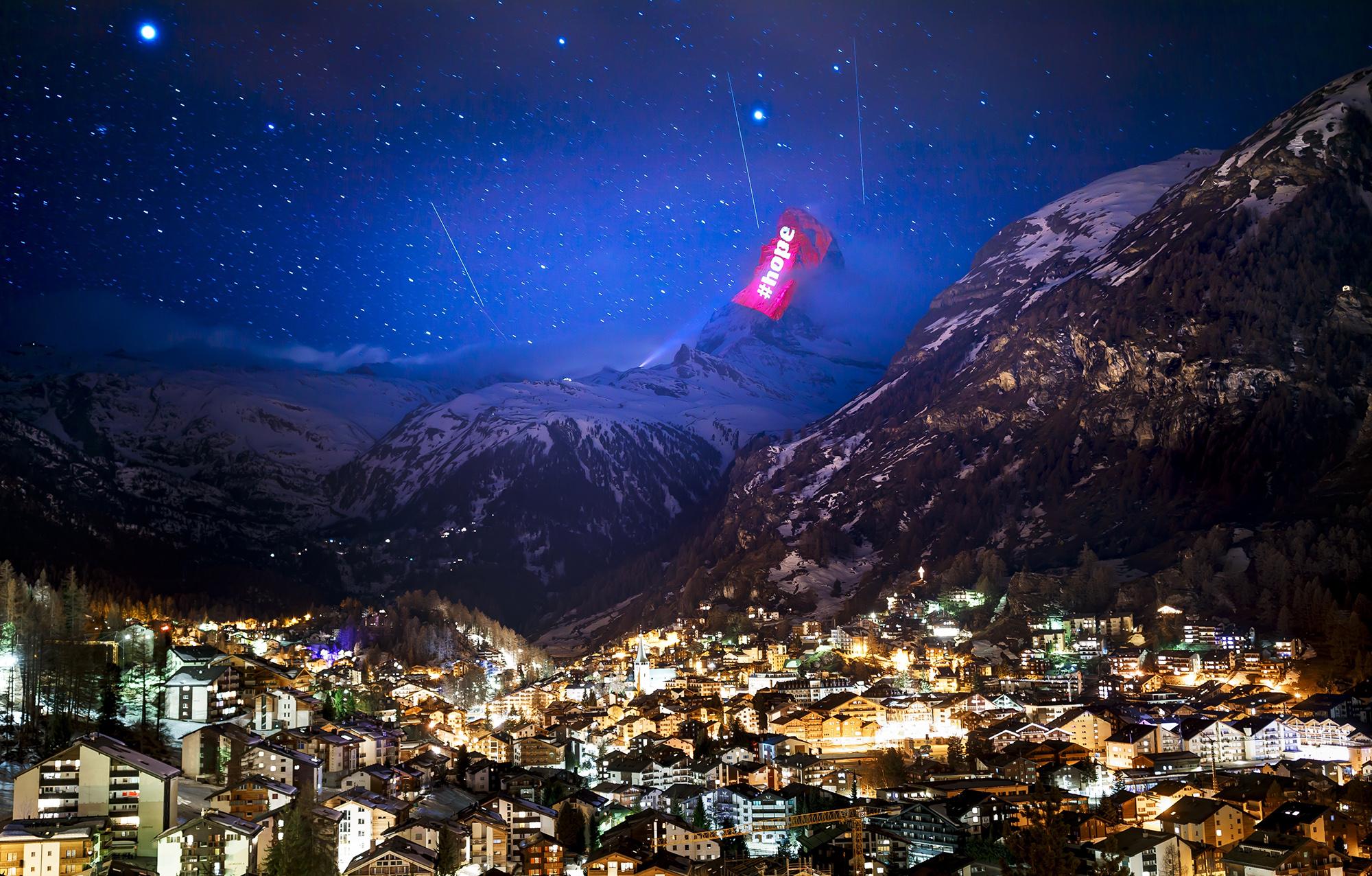 Проекция навершине горы знаменитой горы Маттерхорн