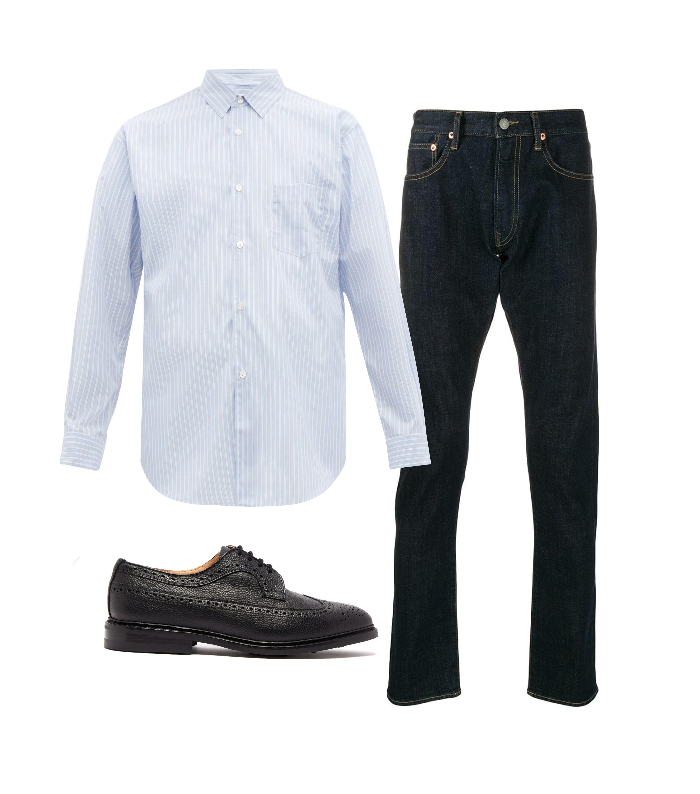 Джинсы Polo Ralph Lauren, 8022 рублей; рубашка Comme des Garçons Shirt, $300; обувь Tricker's, $452