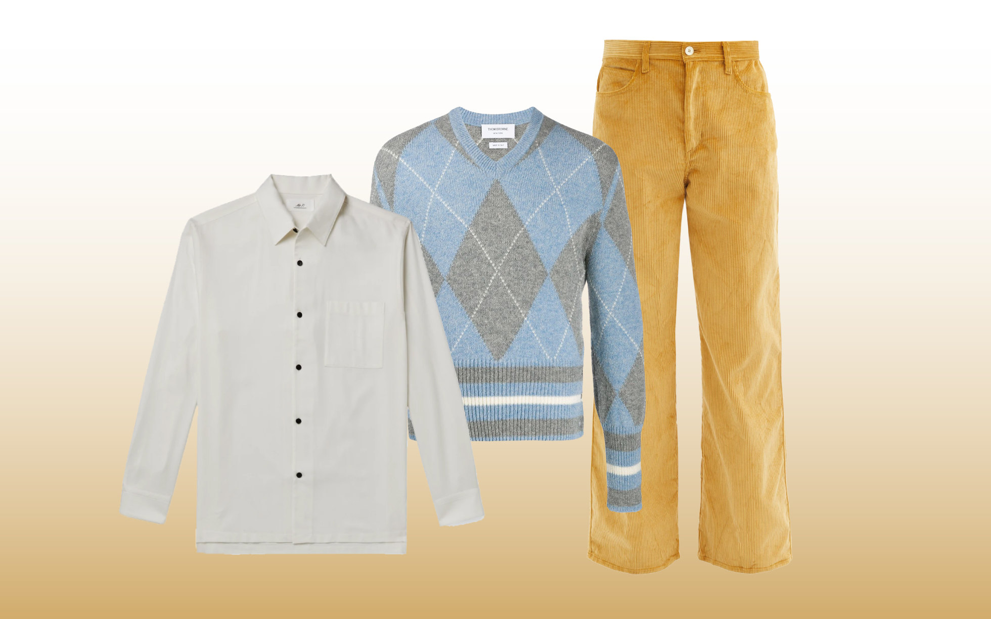 Брюки Marni, €378; рубашка Mr P., $515; джемпер Thom Browne, 85 400 руб.