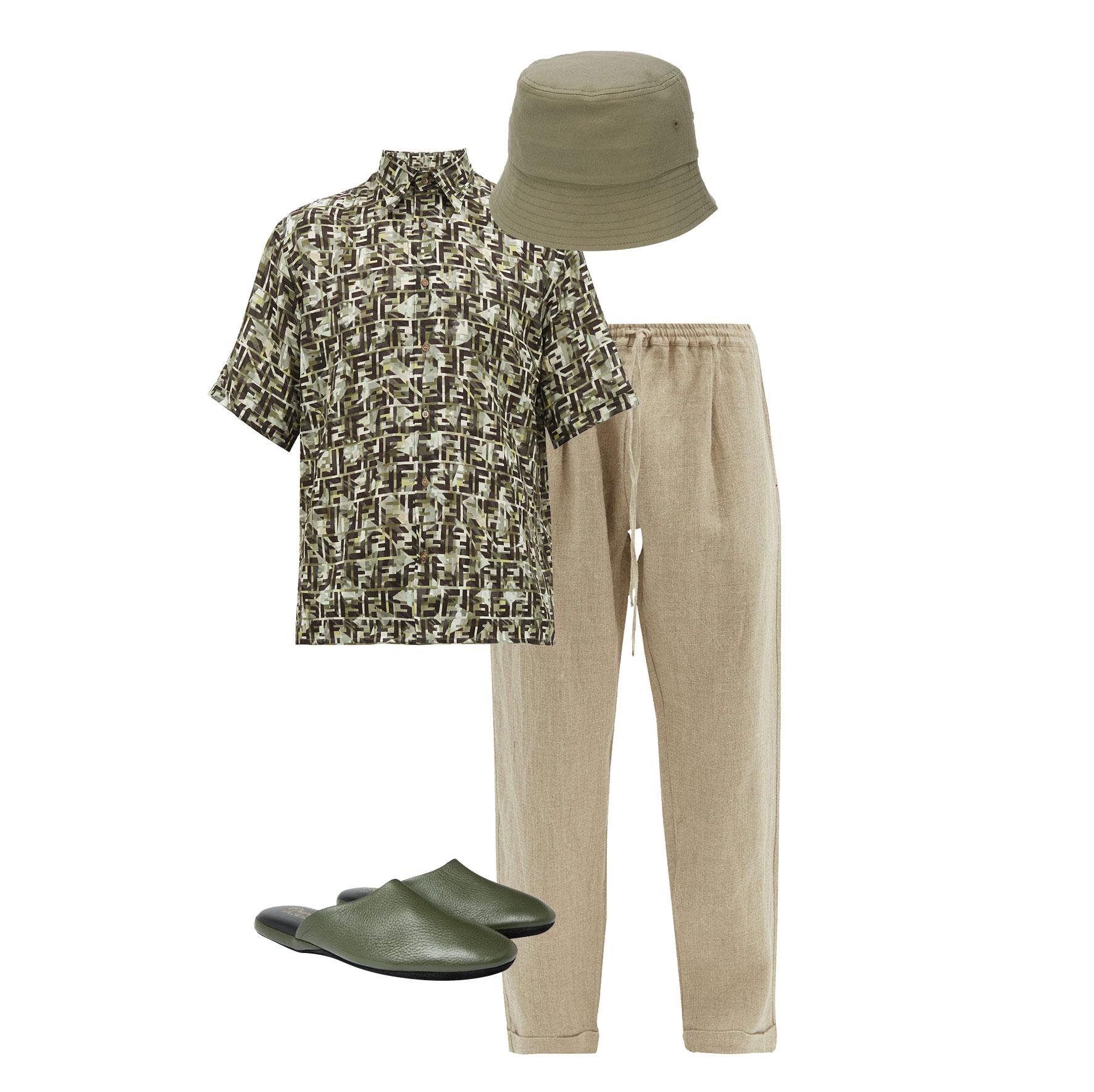 Брюки Pèro, €277; рубашка Fendi, €450; слипперы Charvet, £318; панама Affix, 5 583 руб.