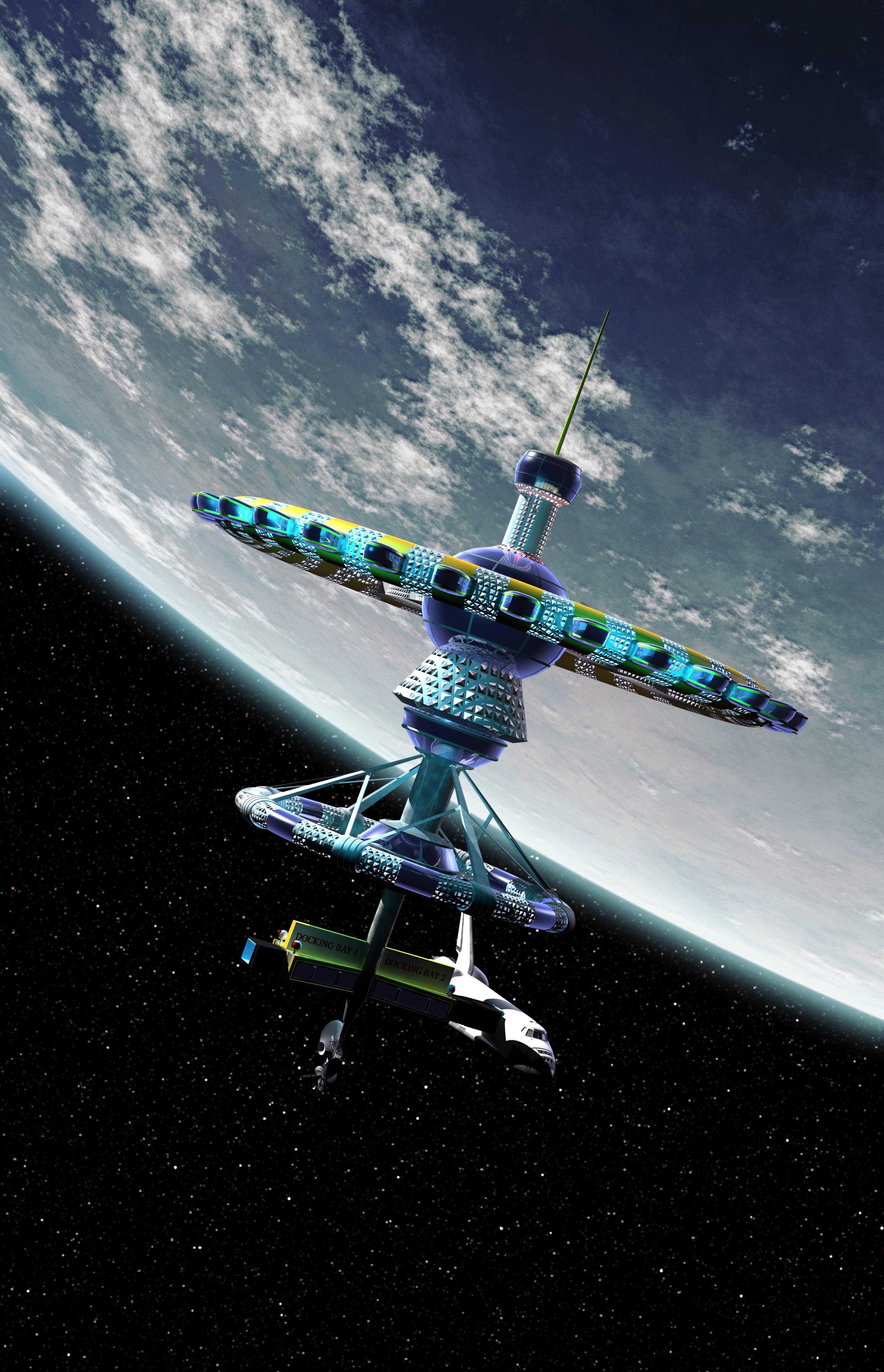 Компьютерная модель космического отеля наземной орбите.