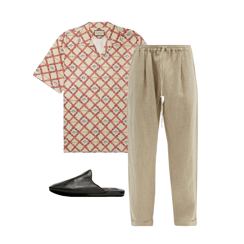 Рубашка Gucci, $980 ; штаны Péro, €278; мюли Aldo Brue, 19 990 руб.