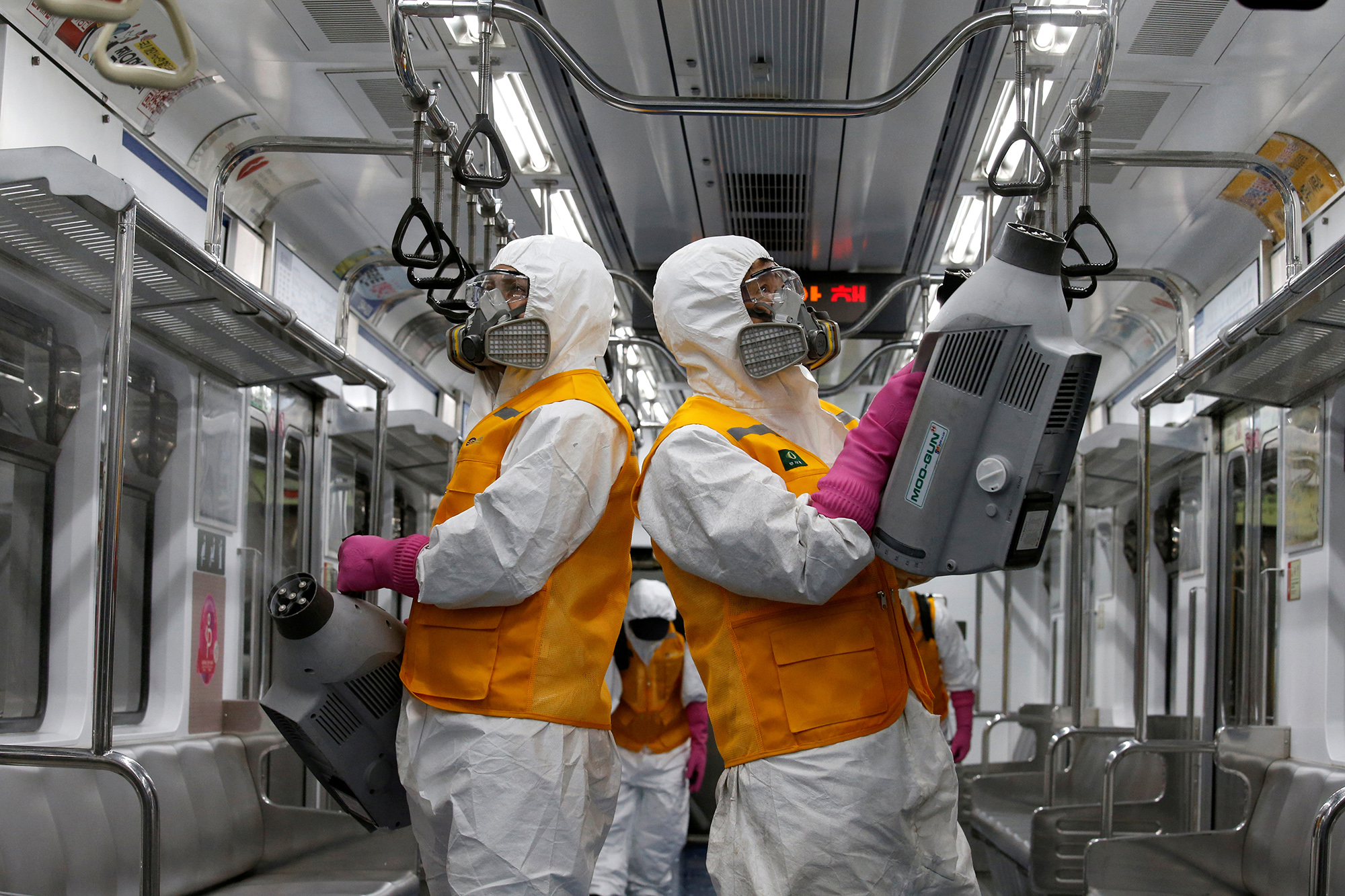 DATE IMPORTED:March 11, 2020Employees from a disinfection service company sanitize a subway car depot amid coronavirus fears in Seoul, South Korea, March 11, 2020. REUTERS/Heo Ran TPX IMAGES OF THE DAY
