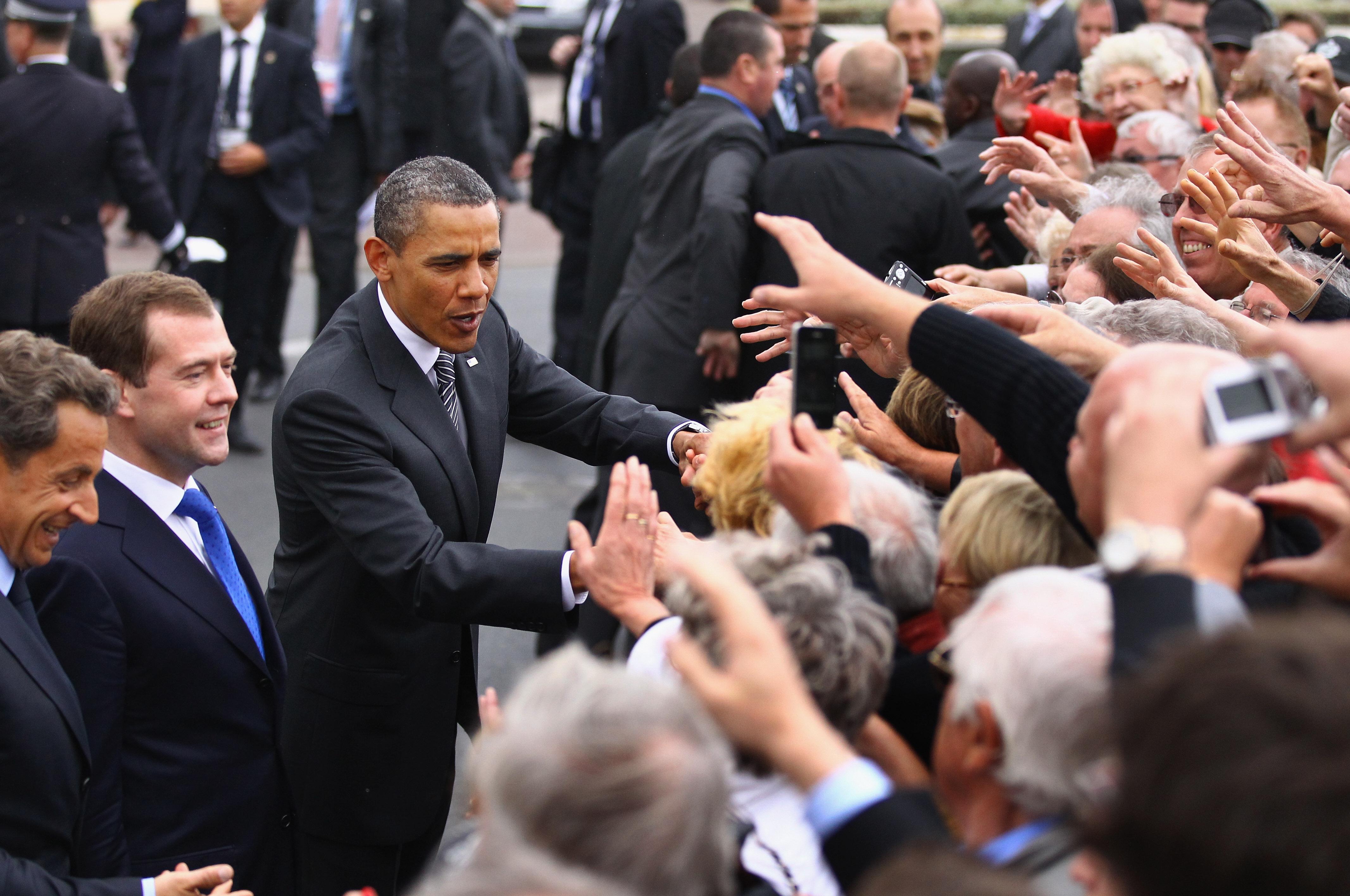 Барак Обама, Дмитрий Медведев иНиколя Саркози насаммите G8 вДовиле, Франция, 26 мая 2011 года.