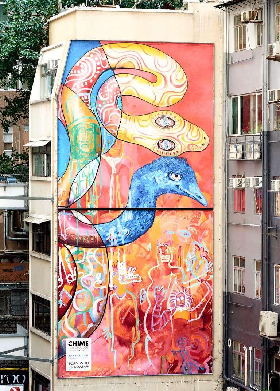 Работа Gucci Art Wall, посвященная проблеме беженцев