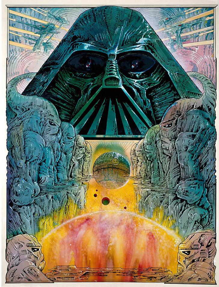 «Звездные войны» (1977): Концепция постера, созданная легендарным французским художником Филиппом Дрюэ.