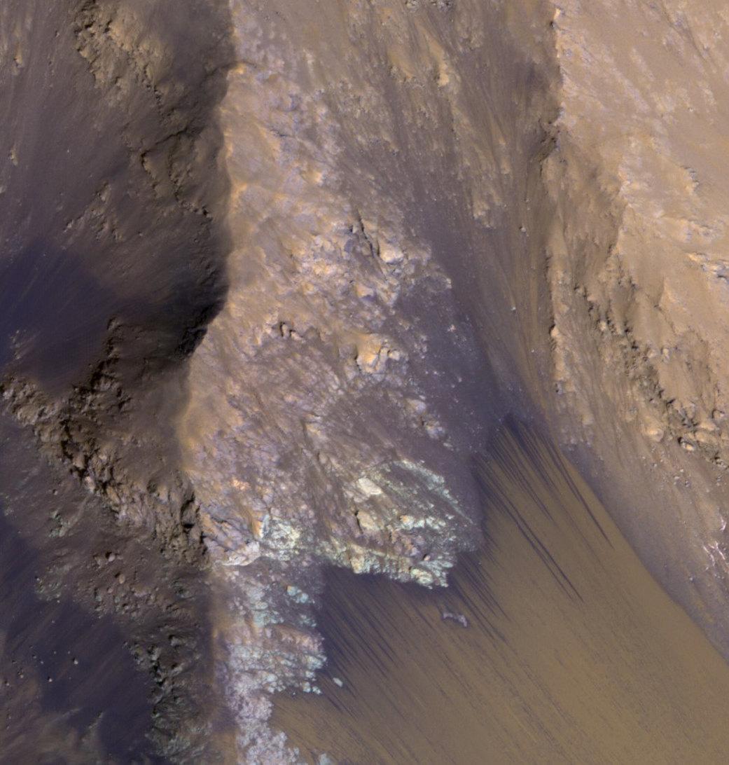 Темные полосы напеске втеплые сезоны становятся длиннее, а вхолодные — короче, из-за чего ряд ученых считает их мокрым песком отприповерхностных потоков воды