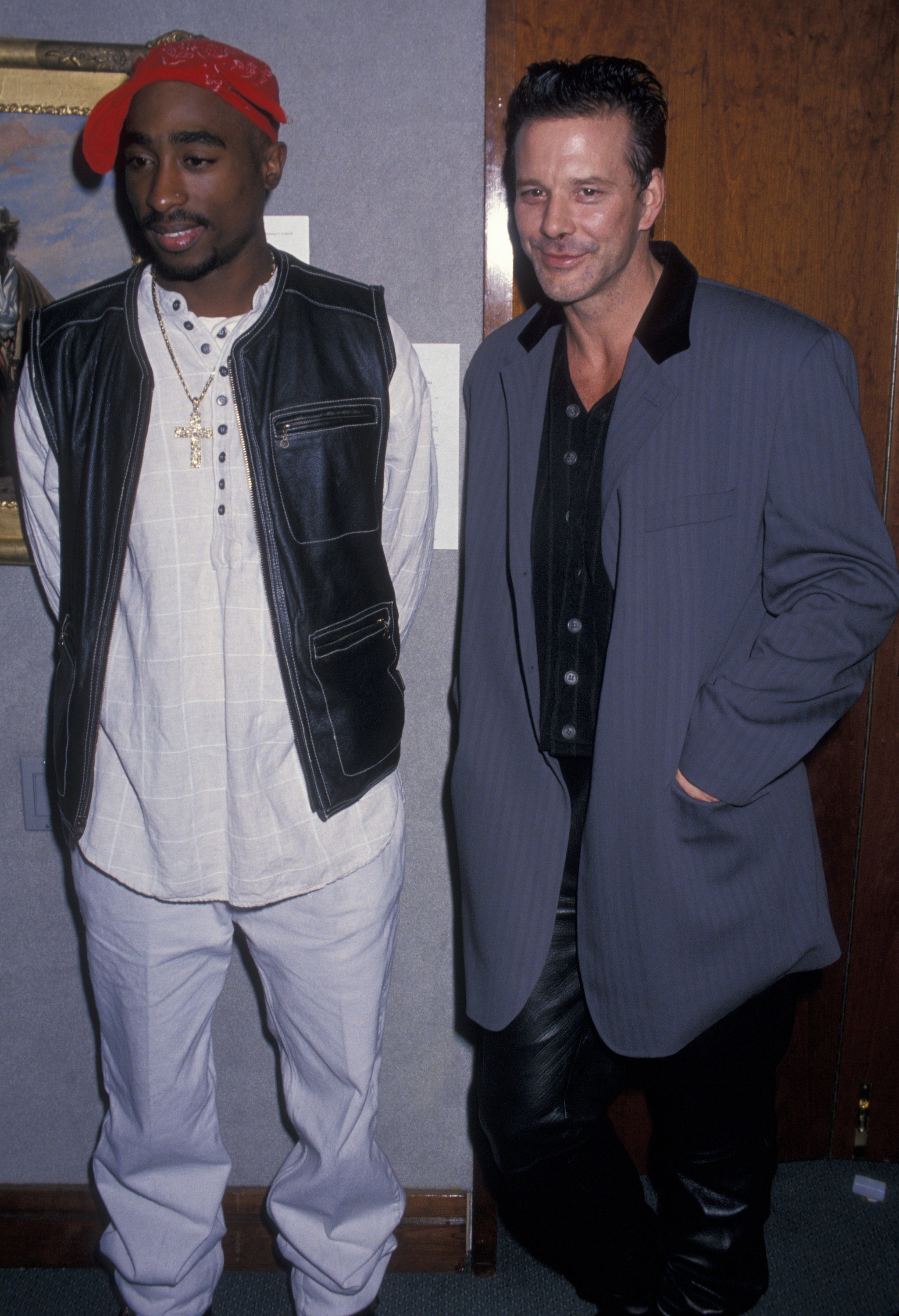 Actor Mickey Rourke and rapper Tupac Shakur attending