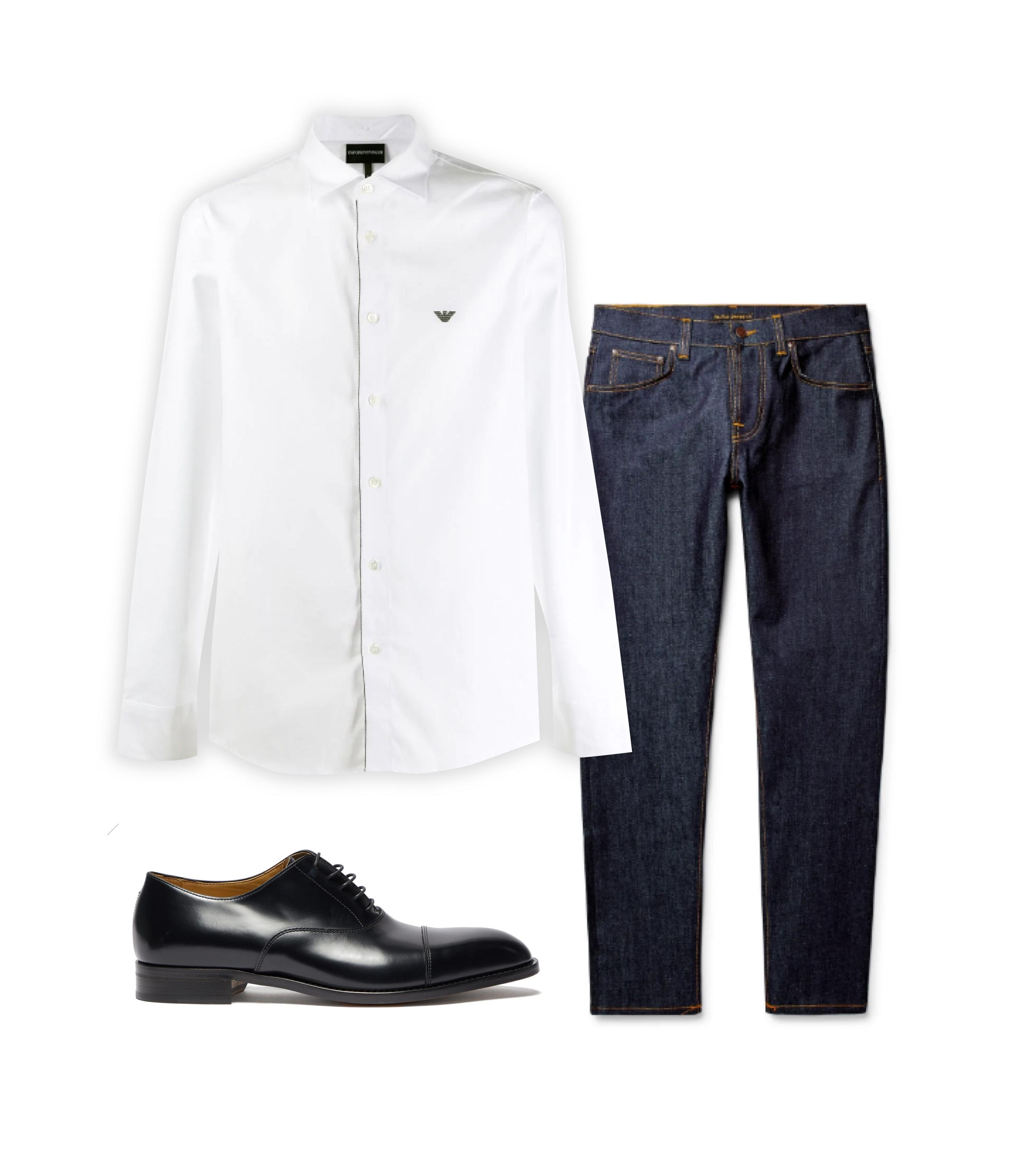 Джинсы Nudie Jeans, €95; рубашка Emporio Armani, 9404 рублей; обувь Paul Smith, $430