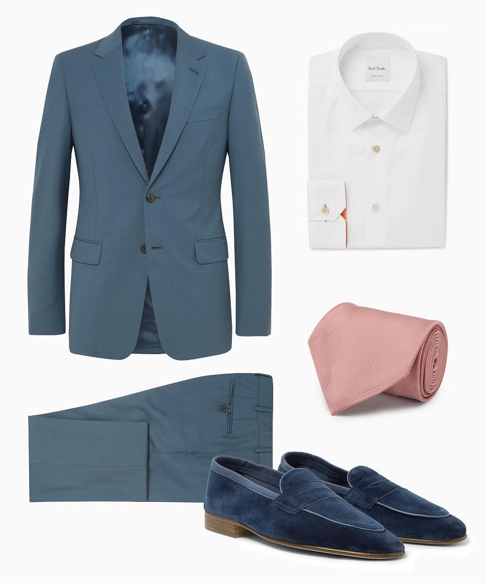 Костюм Prada, 146000 рублей, рубашка Paul Smith, 11900 рублей, галстук Tom Ford, 14700 рублей, лоферы Edward Green, 33200 рублей
