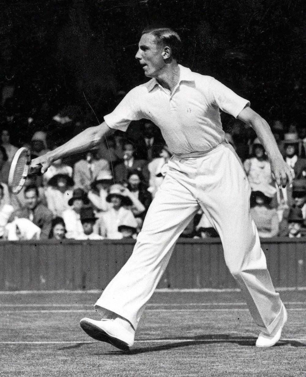 Теннисист Фред Перри наУимблдонском турнире 1931