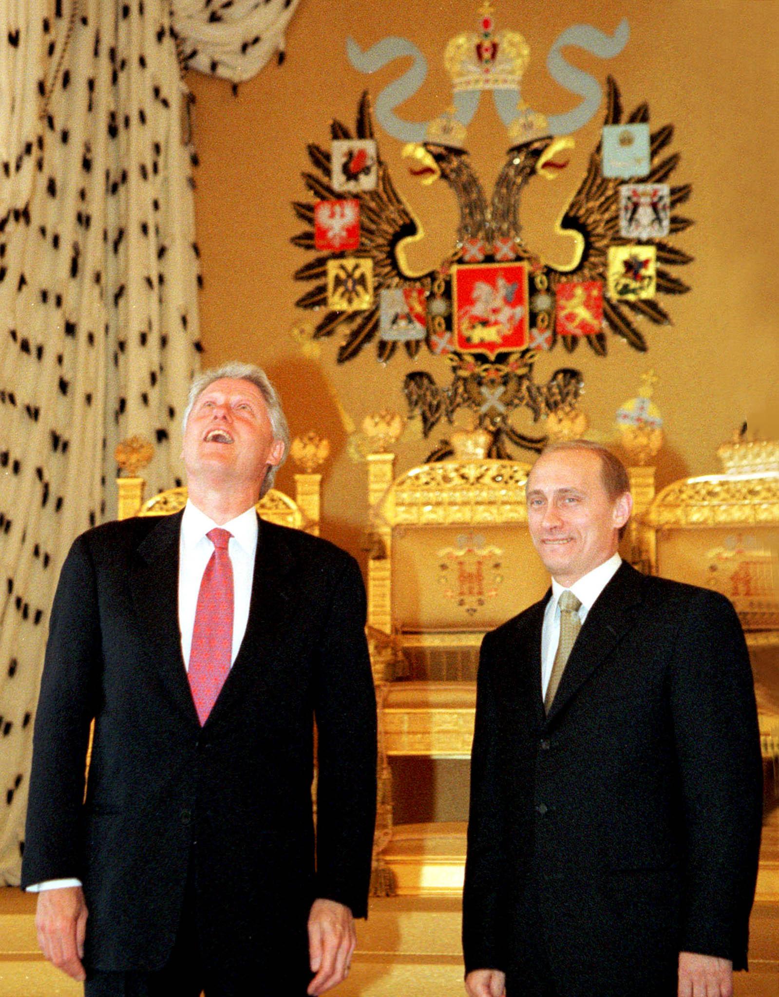Билл Клинтон иВладимир Путин вАндреевском зале Кремля, 2000 год
