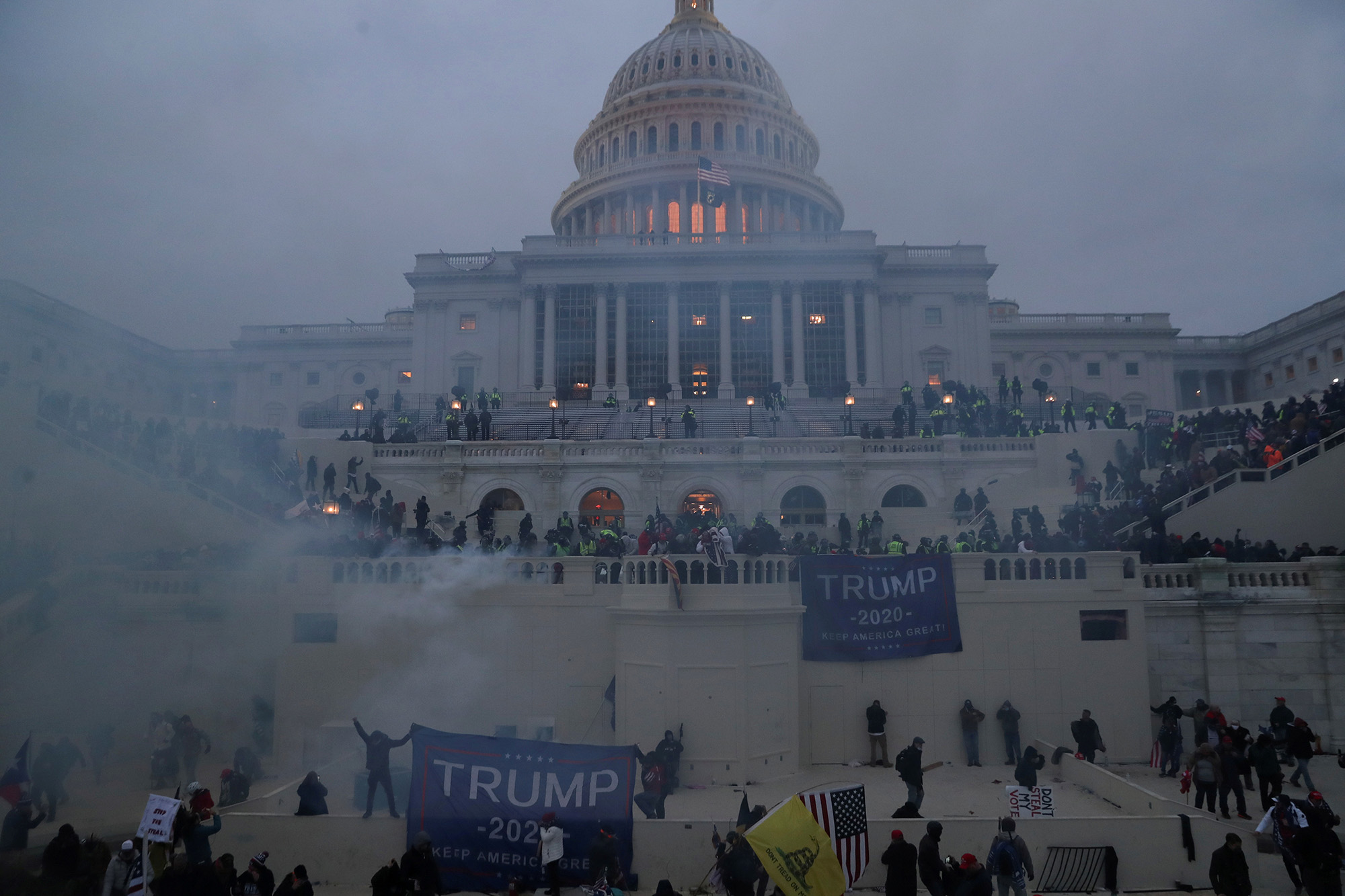 Police officers stand guard as supporters of U.S. President Donald Trump gather in front of the U.S. Capitol Building in Washington, U.S., January 6, 2021. REUTERS/Leah Millis