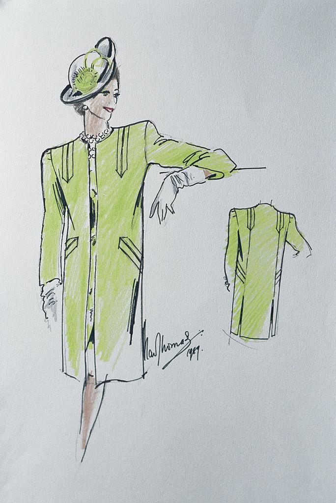 Набросок будущего платья королевы отдизайнера