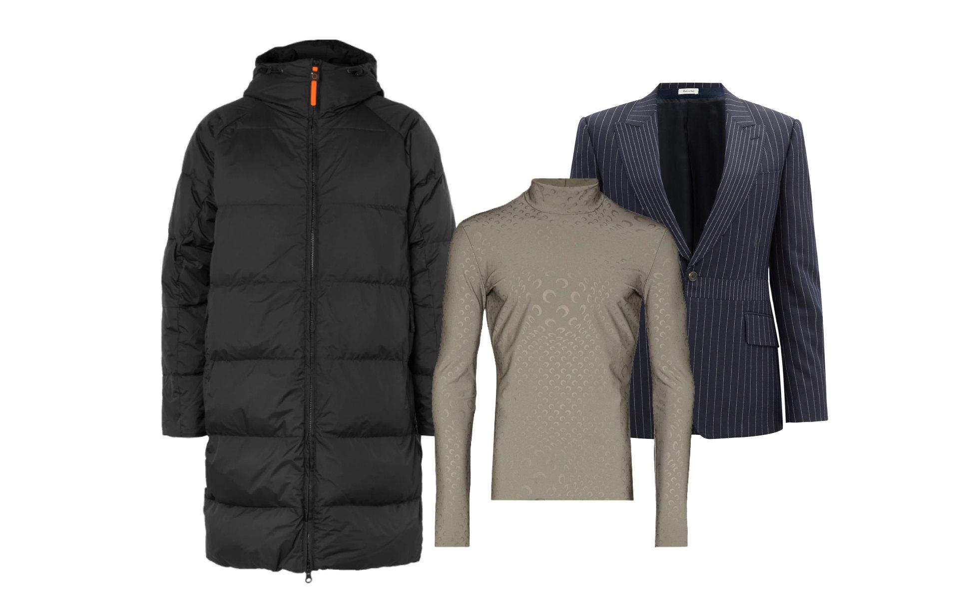 Пуховик Aspesi, $1195; пиджак Alexander McQueen €2060 ; водолазка Marine Serre 26 100 руб.