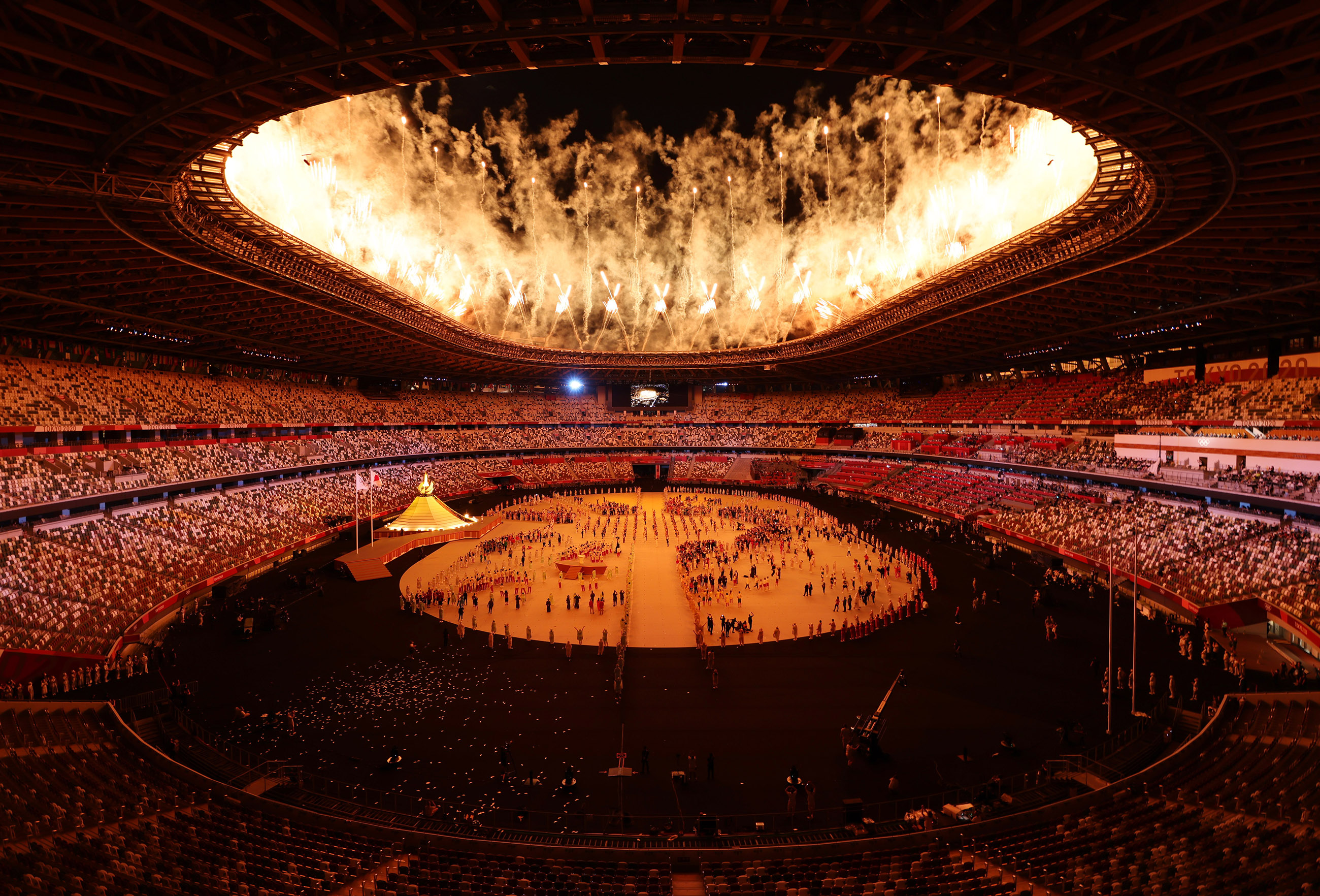 Tokyo 2020 Olympics - The Tokyo 2020 Olympics Opening Ceremony - Olympic Stadium, Tokyo, Japan - July 23, 2021. General view inside the stadium after the lighting the Olympic cauldron at the opening ceremony. (Edited)