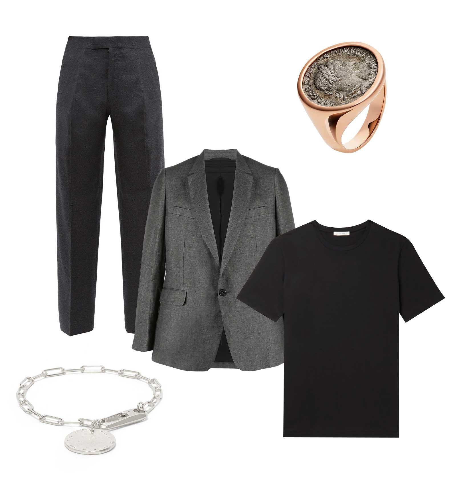 Пиджак Ann Demeulemeester, 55 875 рублей; футболка The Row, £275; брюки The Row, €1188; перстень Bvlgari; браслет Alighieri, €214