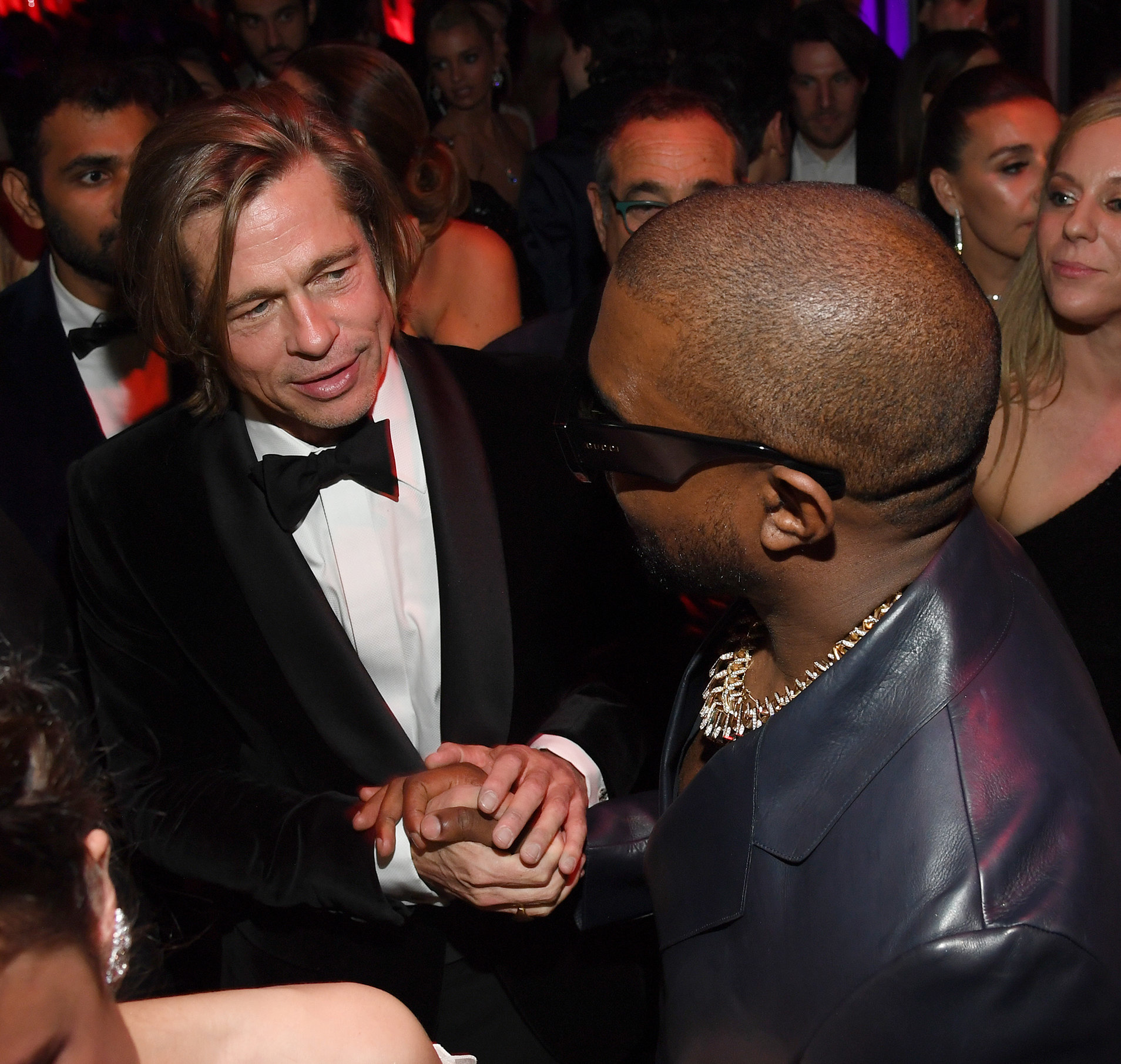 Brad Pitt and Kanye West attend the 2020 Vanity Fair Oscar Party hosted by Radhika Jones at Wallis Annenberg Center for the Performing Arts on February 09, 2020 in Beverly Hills, California. (Photo by Kevin Mazur/VF20/WireImage)
