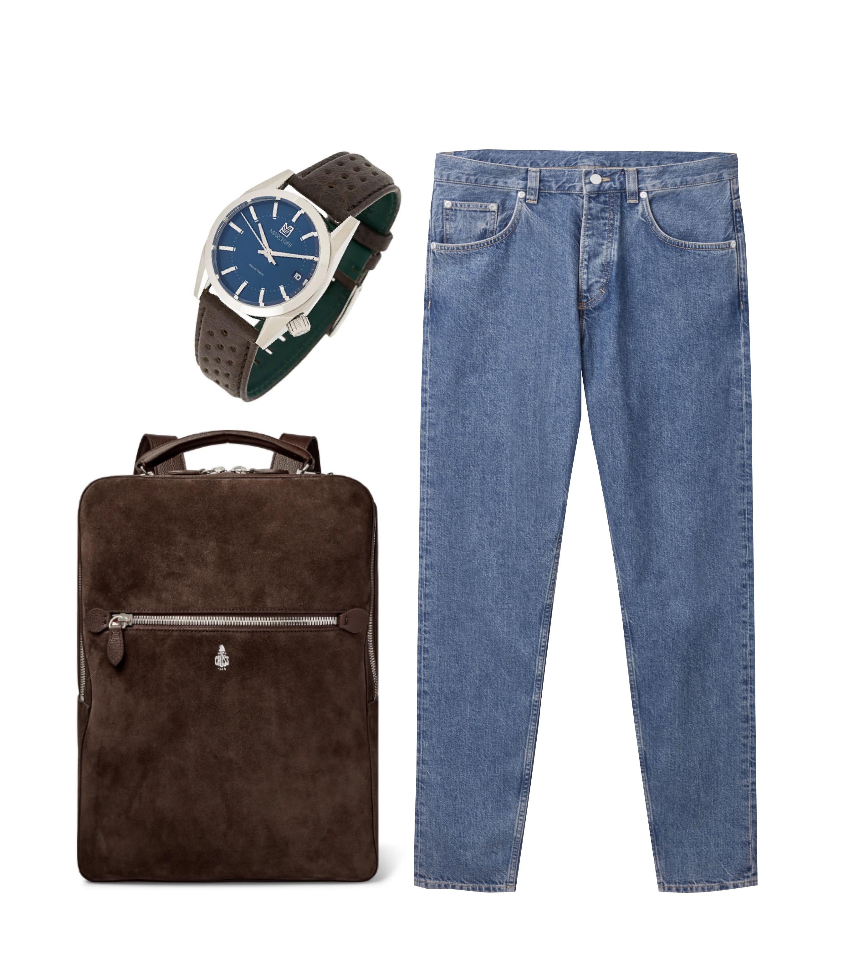 Джинсы COS, €69; часы March La.b., 34737 рублей; рюкзак Mark Cross, €1614