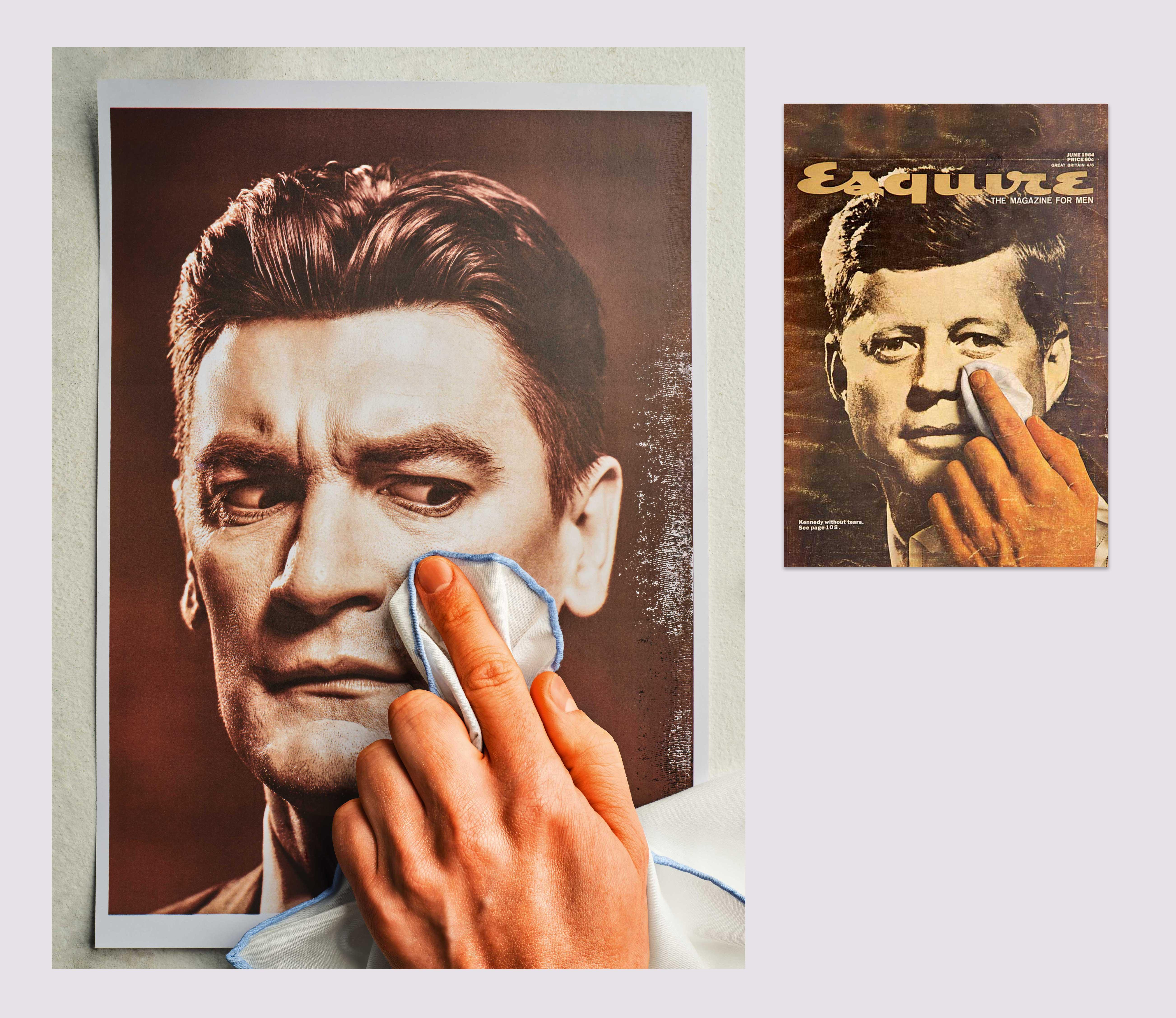 1964 год Обложка июньского номера Esquire США сцентральным материалом подназванием «Кеннеди безслез».