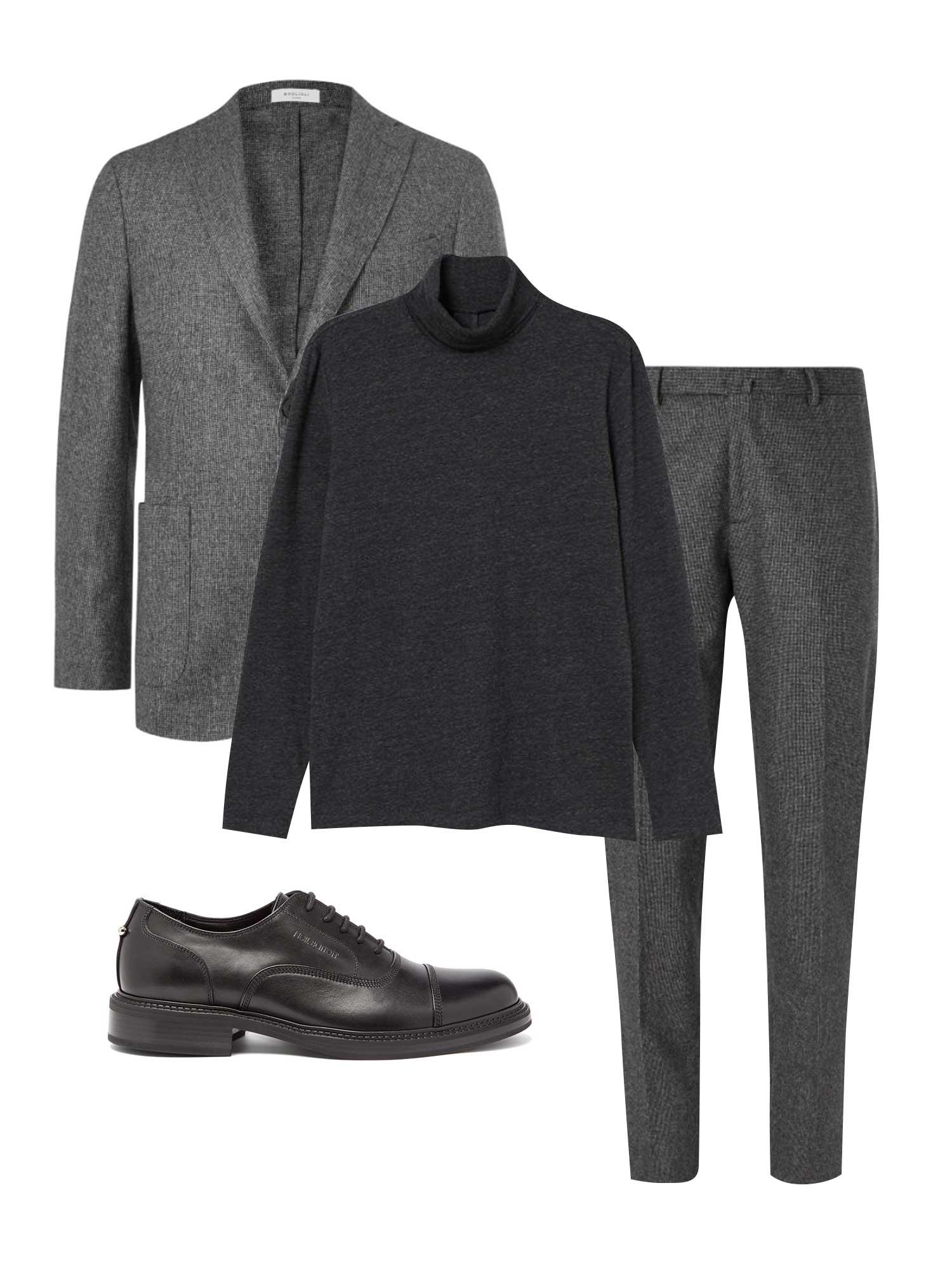 Пиджак Boglioli, €714; брюки Boglioli, €279; водолазка H&M, 1199 рублей; обувь Neil Barrett, €401
