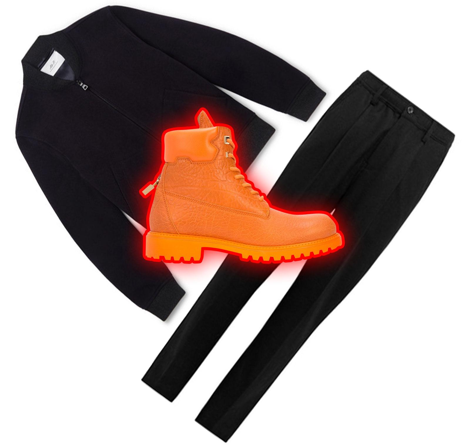 Бомбер Mr P., £297; брюки Saturdays NYC, £153; обувь Buscemi, 54541 рубль