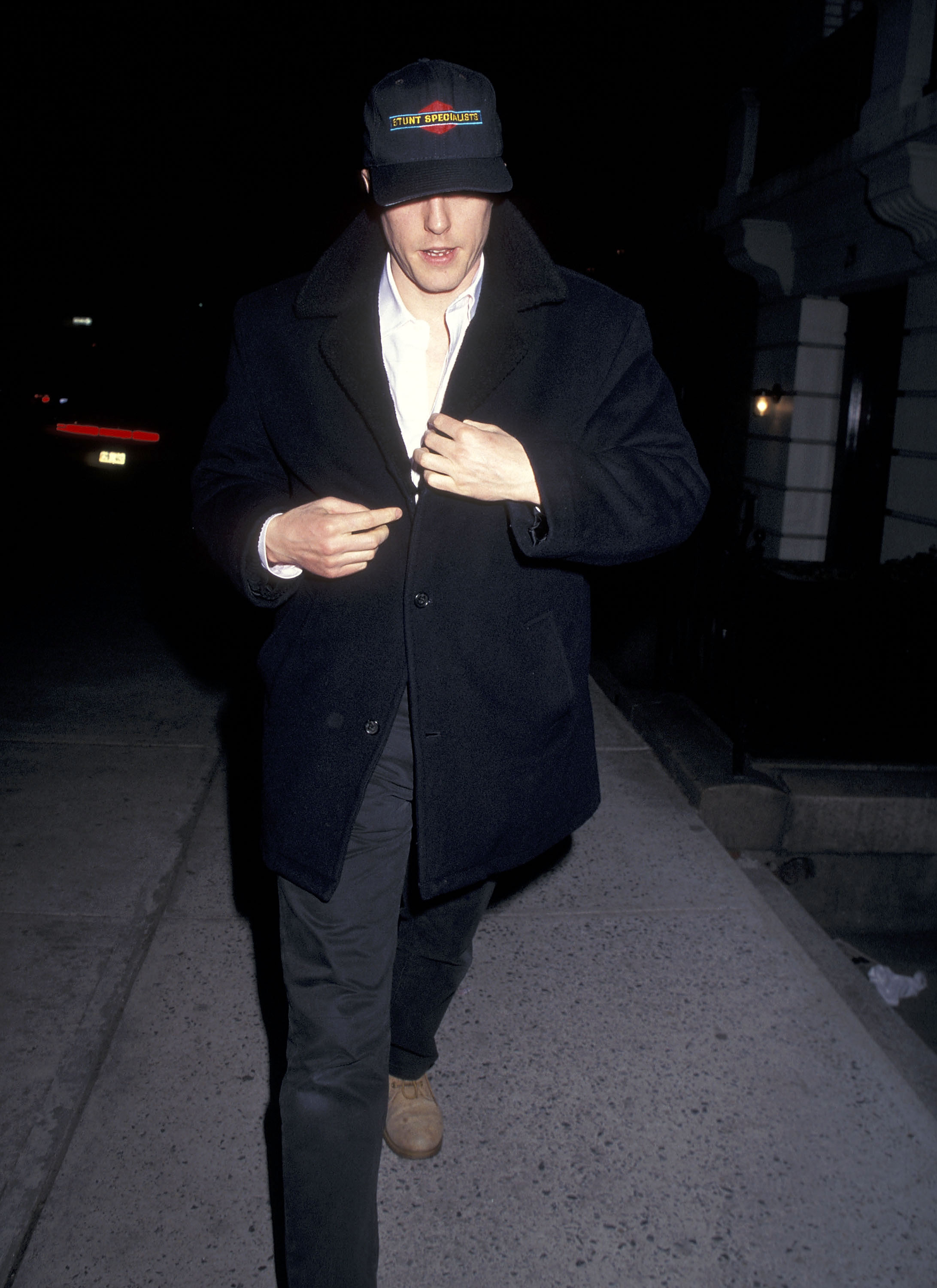 Actor Hugh Grant on April 11, 1996 walking on Madison Avenue in New York City. (Photo by )