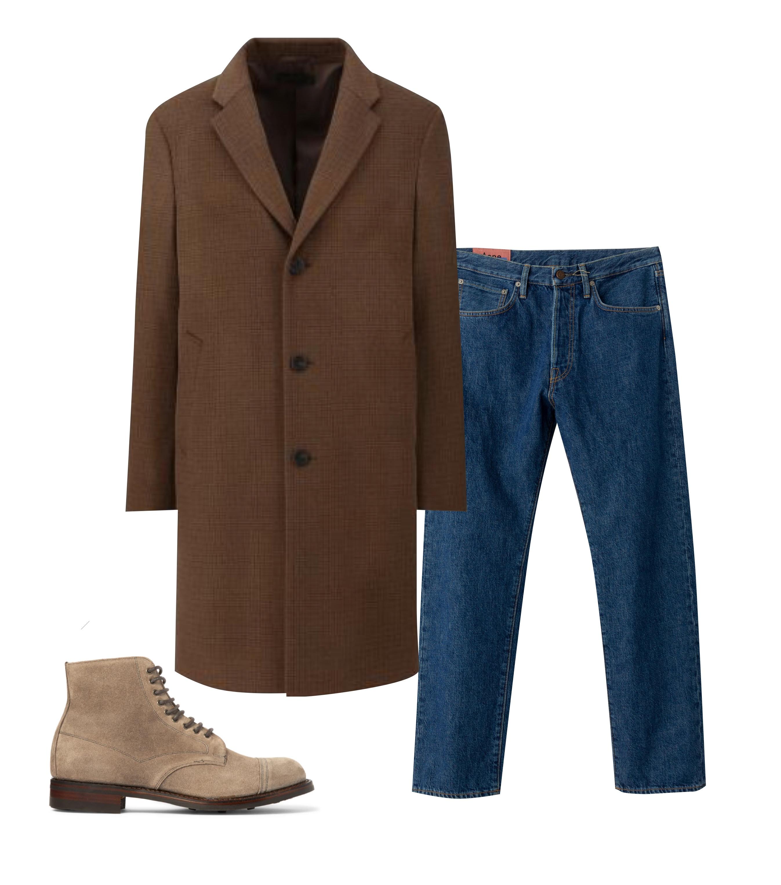 Джинсы Acne Studios, $310; пальто Uniqlo, 7999 рублей; обувь Cheaney, €345
